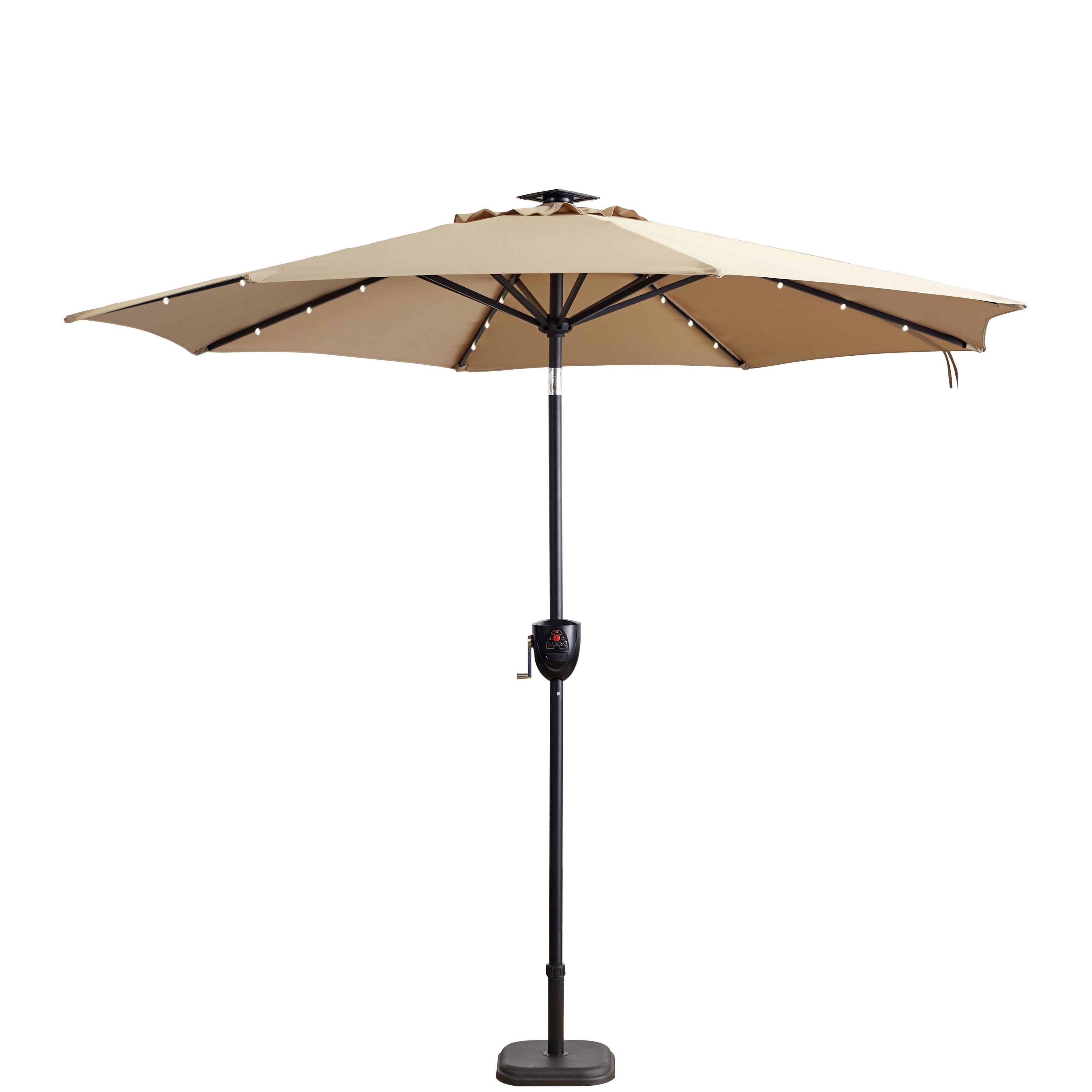 Herlinda Solar Lighted Market Umbrellas Intended For Well Known Hettie Solar Lighted 9' Market Umbrella (Gallery 2 of 20)