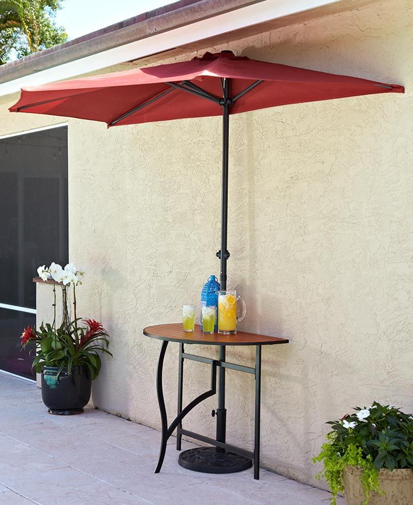 Herlinda Solar Lighted Market Umbrellas Regarding Fashionable Half Umbrella Collection In  (View 7 of 20)