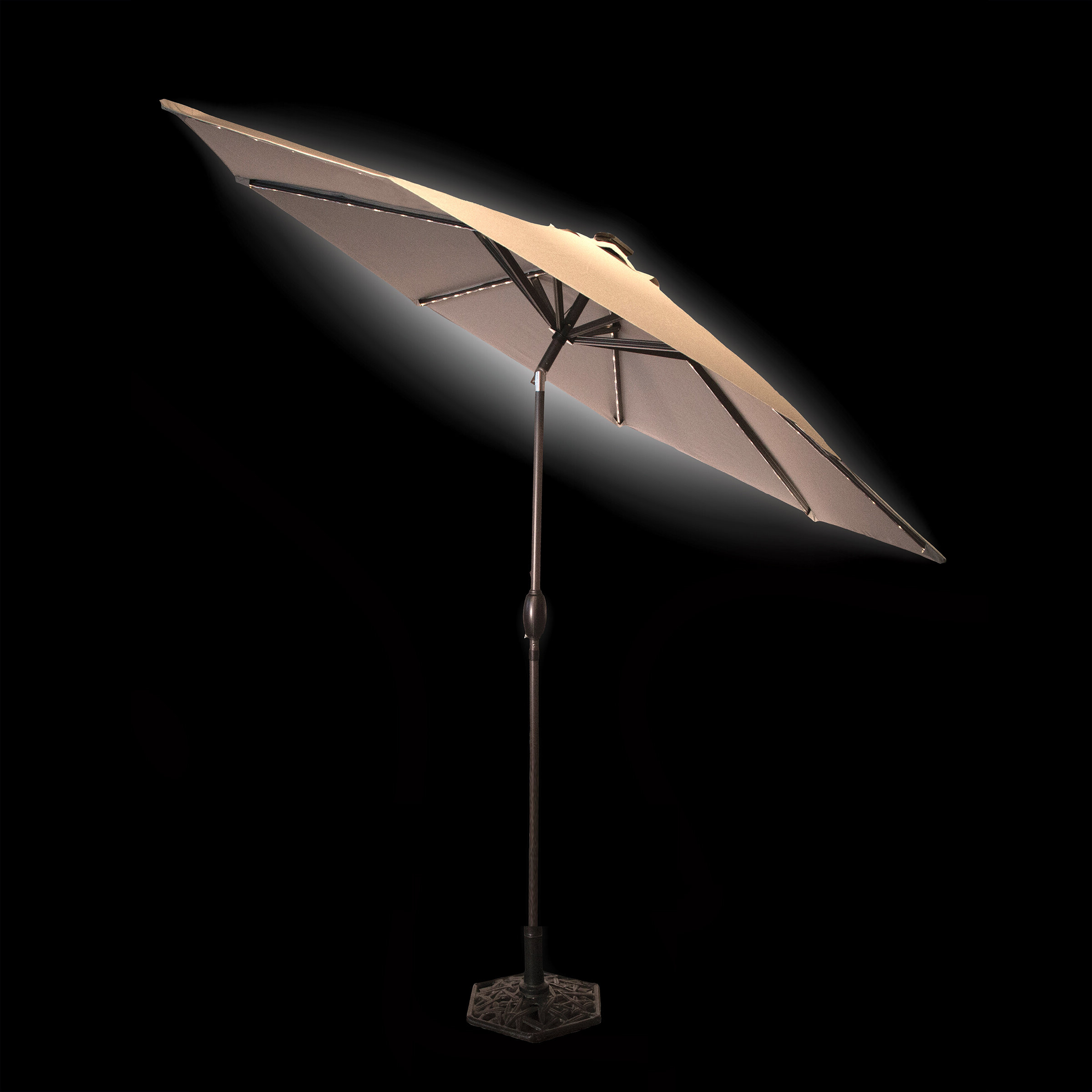 Hettie Solar Lighted Market Umbrellas Intended For Preferred Solar 9' Market Umbrella (View 5 of 20)