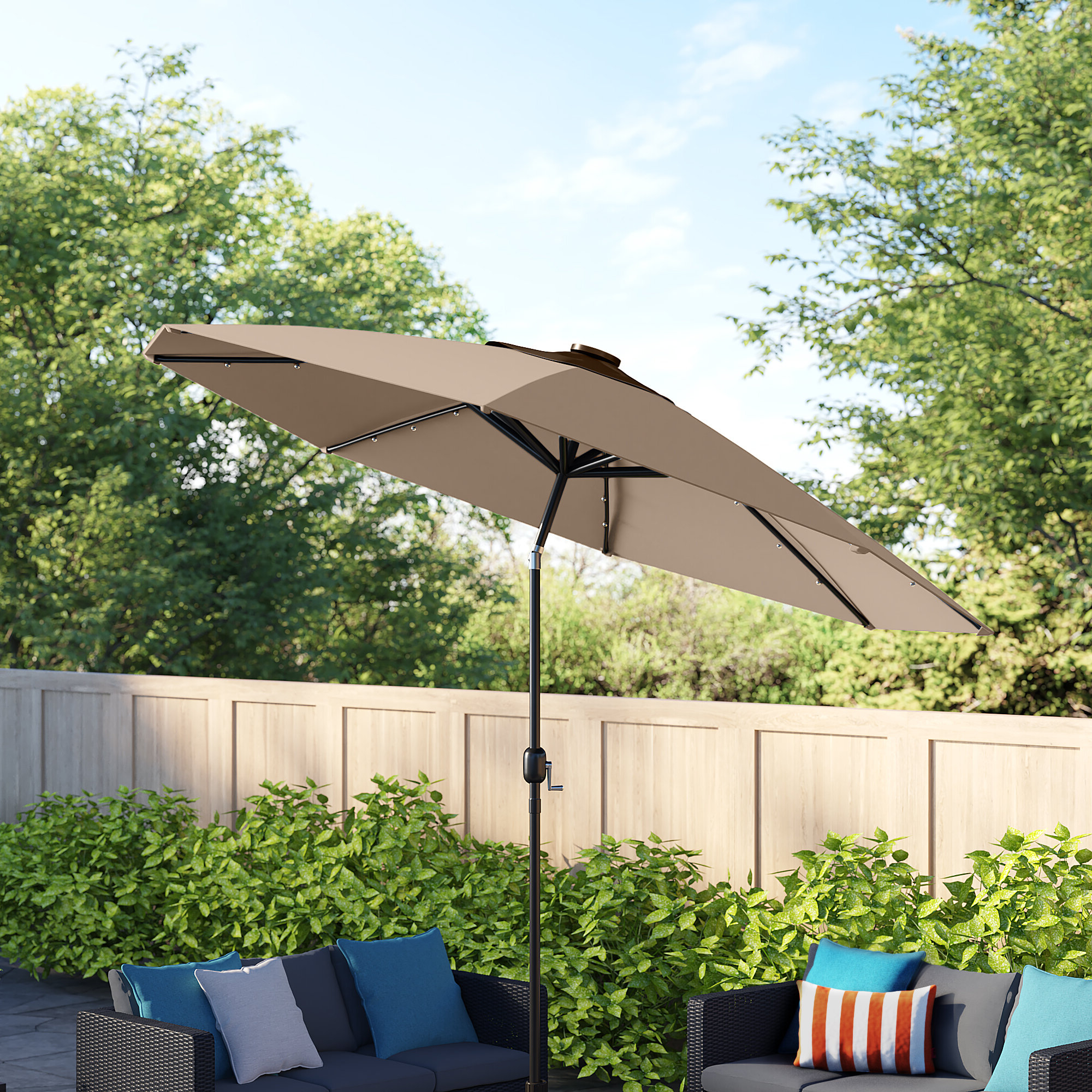 Hilma Solar Cantilever Umbrellas Intended For Most Recently Released Cantilever Umbrella Led Lights (View 8 of 20)