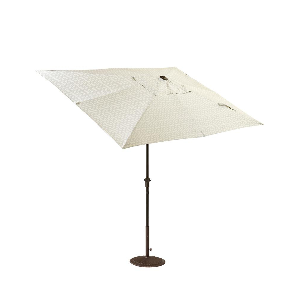 Home Decorators Collection Camden 10 Ft. X 6 Ft. Aluminum Patio Umbrella In  Fretwork Flax Pertaining To Best And Newest Venice Lighted Umbrellas (Gallery 16 of 20)