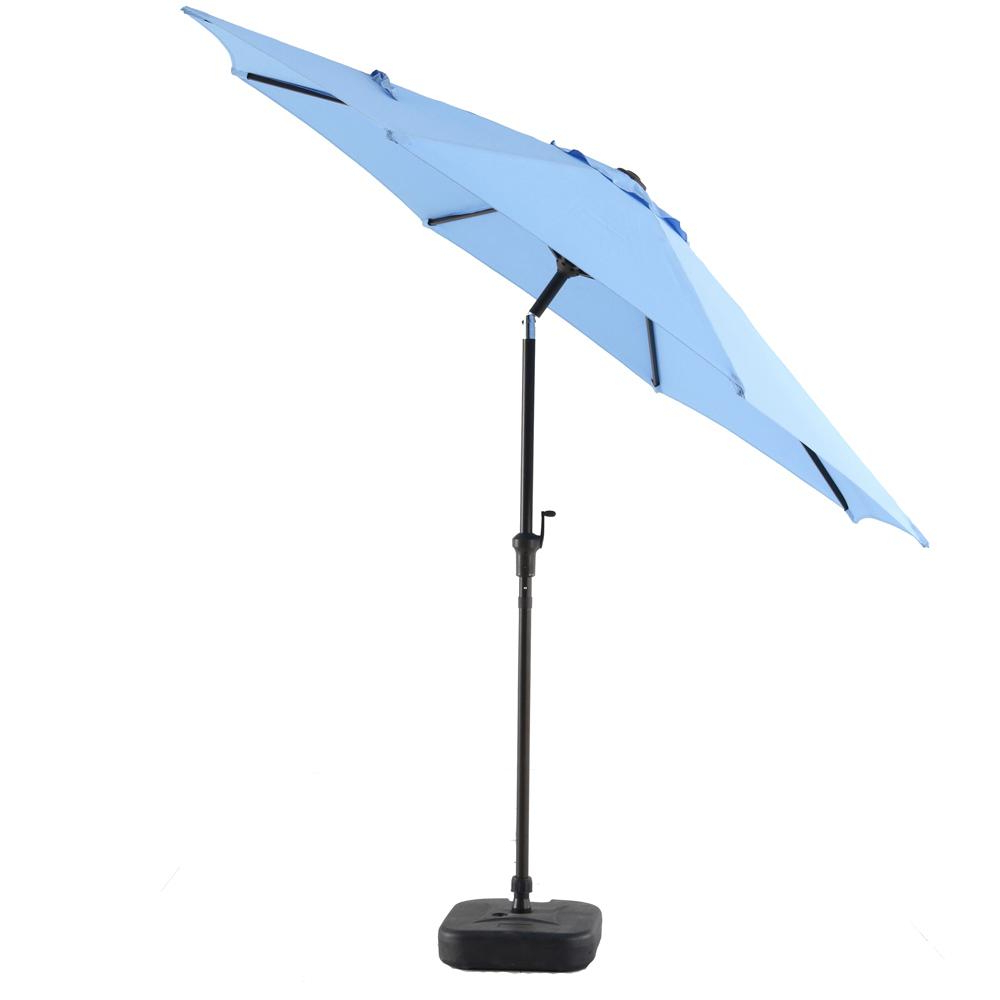 Hurt Market Umbrellas Pertaining To Widely Used Hampton Bay 9 Ft. Steel Patio Umbrella In Periwinkle (Gallery 18 of 20)