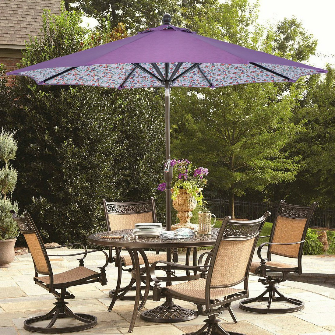 Hutson 9' Market Umbrella Intended For Most Popular Hawkinge Market Umbrellas (View 12 of 20)