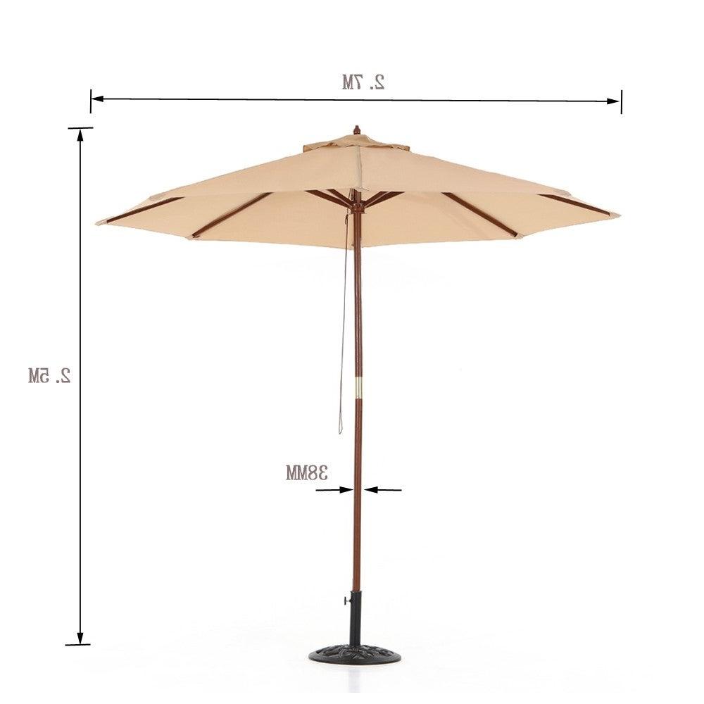 Ikayaa 2.7M Wooden Patio Garden Umbrella Sun Shade Outdoor Cafe Beach  Parasol Canopy 8 Ribs 38Mm Pole W/ Air Vent 180G Polyester Throughout Current Julian Market Umbrellas (Gallery 14 of 20)