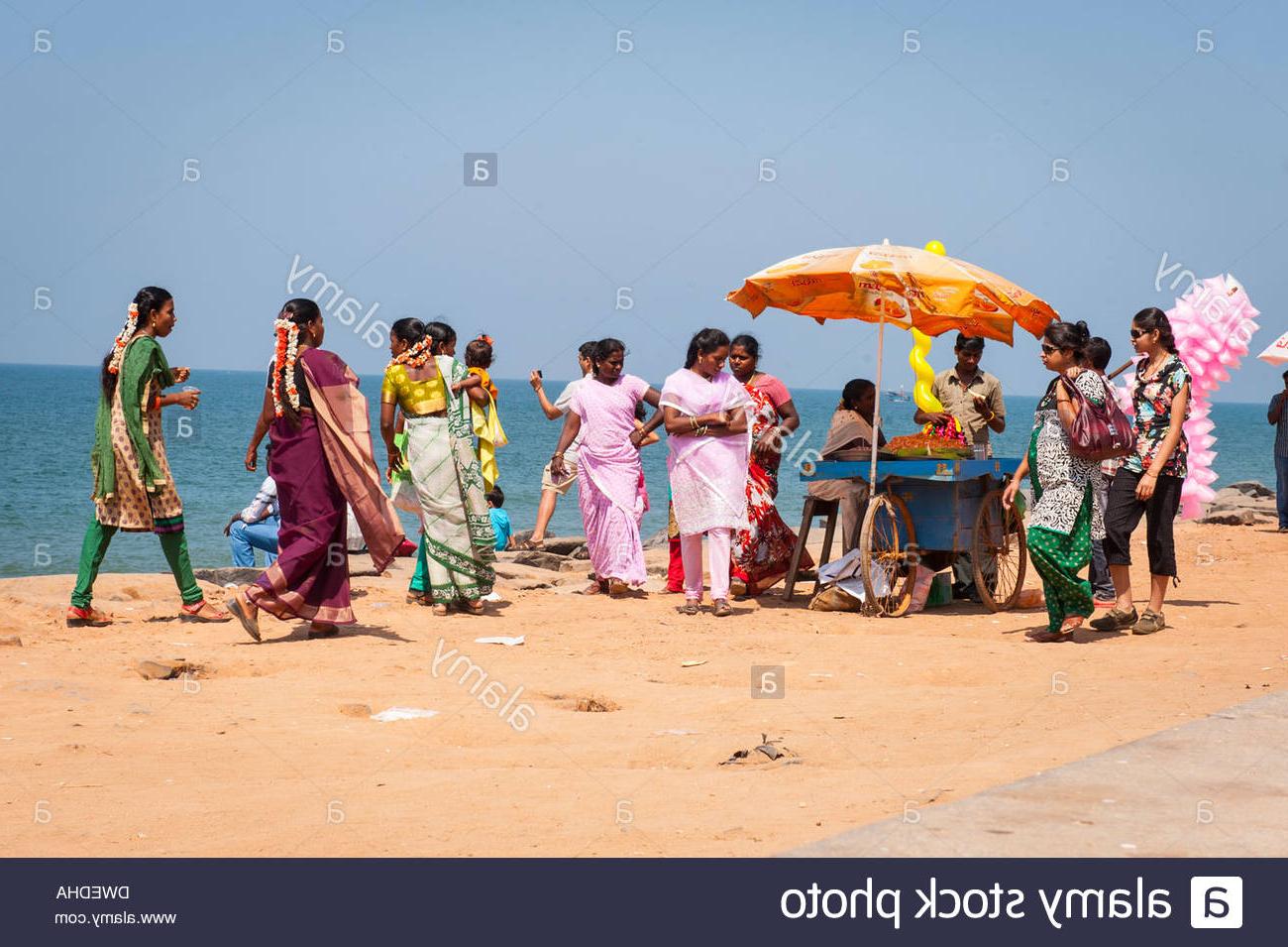 India Tamil Nadu Pondicherry Puducherry Beach Sand Seaside Scene Regarding Favorite Auriville Beach Umbrellas (Gallery 1 of 20)