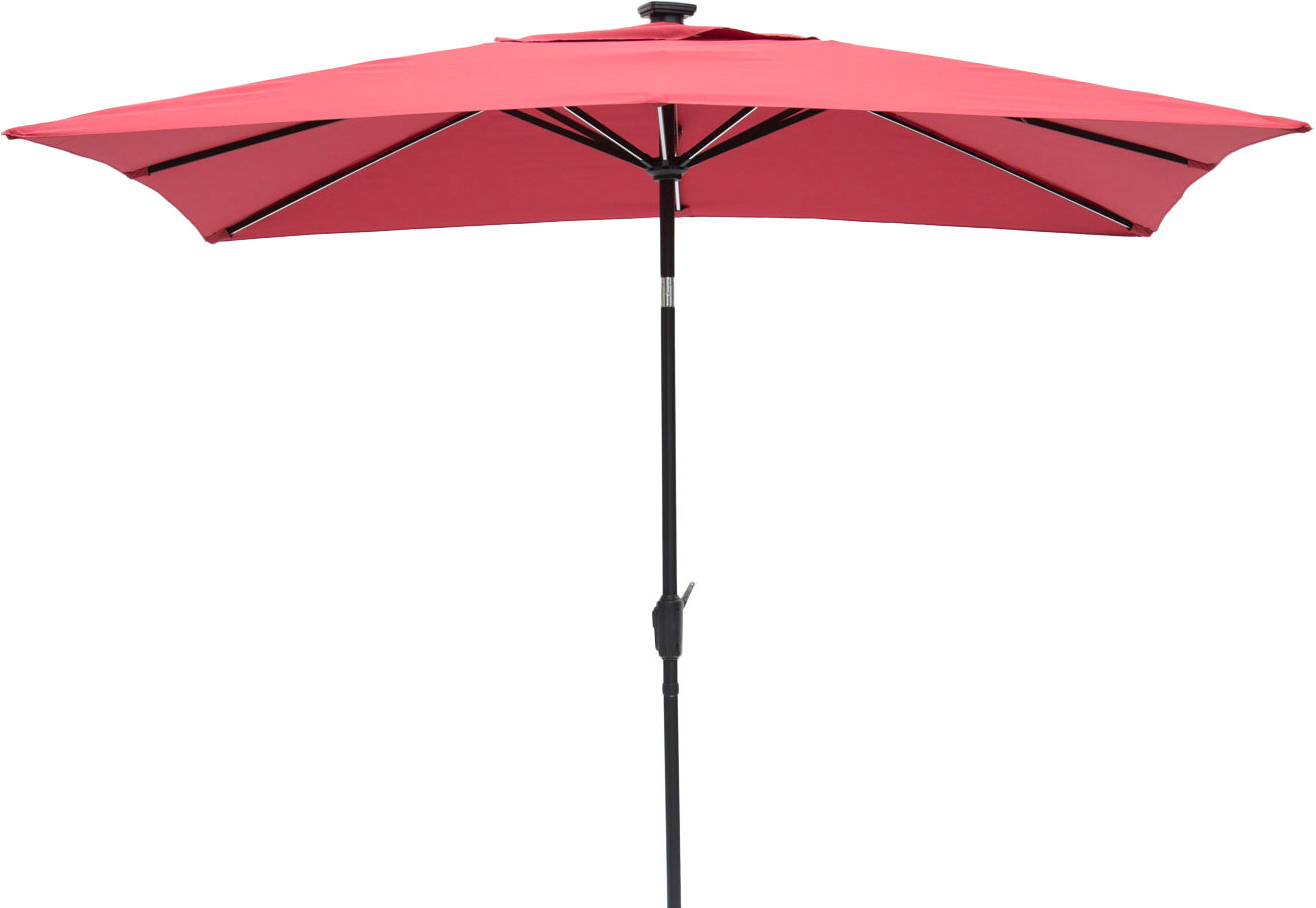 Irene 9' X 7' Rectangular Lighted Umbrella In Well Known Norah Rectangular Market Umbrellas (Gallery 13 of 20)