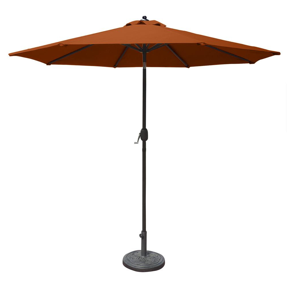 Island Umbrella Mirage 9 Ft. Octagonal Market Umbrella With Auto Tilt In Terra Cotta Olefin For Most Recently Released Market Umbrellas (Gallery 3 of 20)