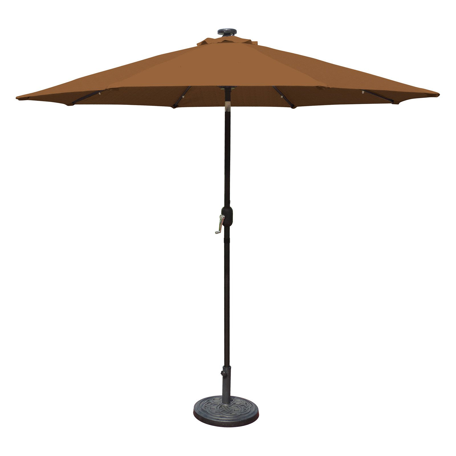Island Umbrella Mirage Fiesta 9 Ft. Market Solar Led Auto Tilt Patio Pertaining To Well Known Hookton Crank Market Umbrellas (Gallery 7 of 20)