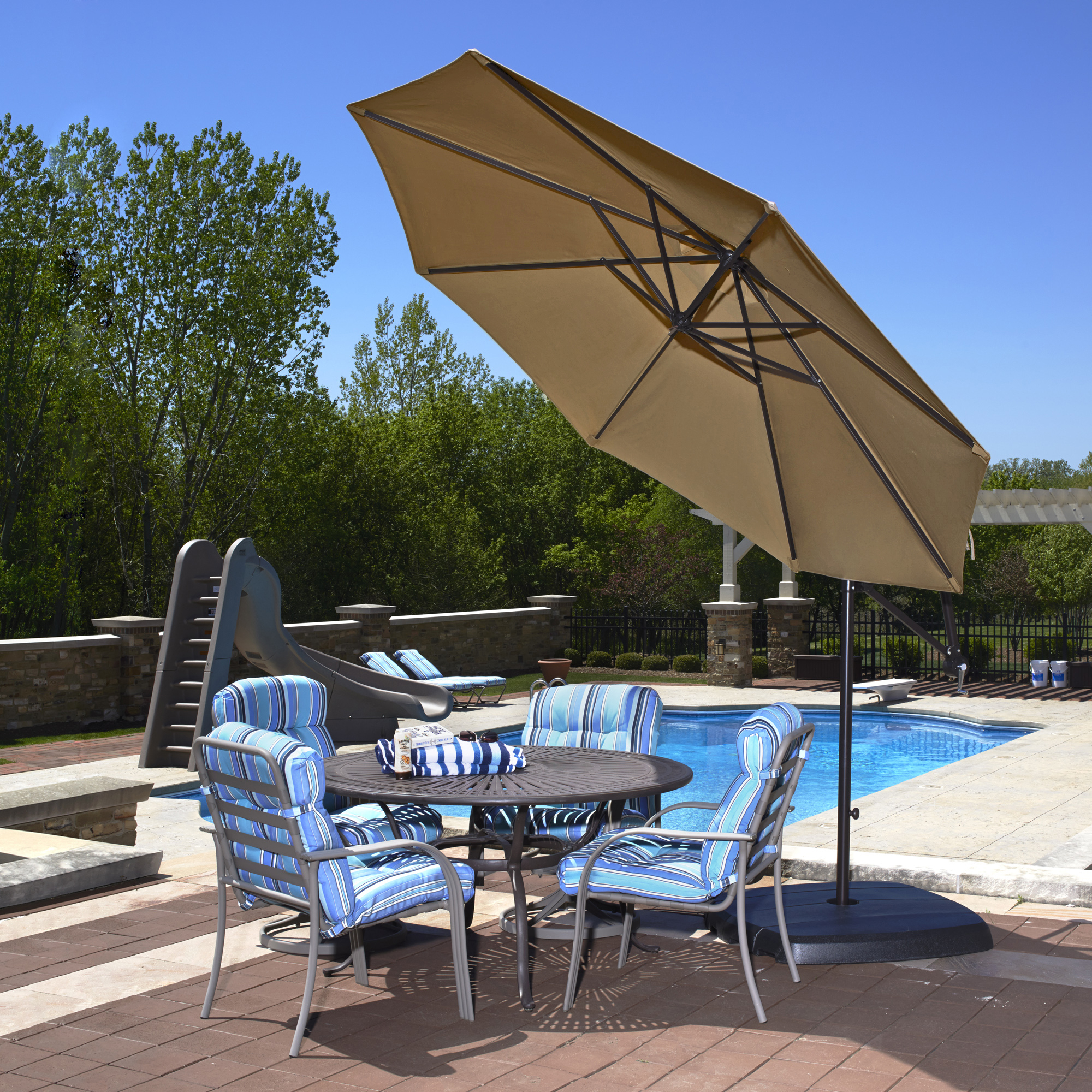 Island Umbrella Santiago 10 Ft Octagonal Cantilever Umbrella In Stone Olefin For Most Popular Cantilever Umbrellas (Gallery 10 of 20)