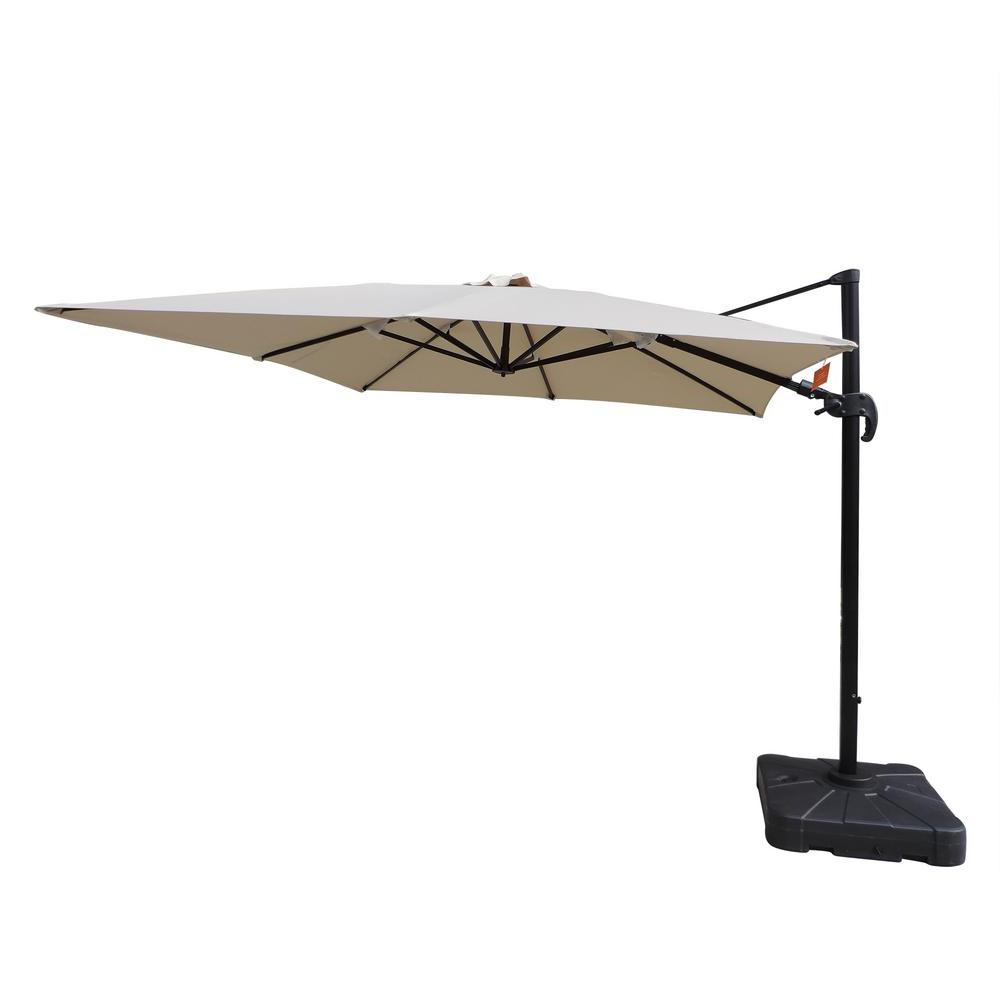 Island Umbrella Santorini Ii 10 Ft. Square Cantilever Patio Umbrella In  Beige Sunbrella Acrylic Pertaining To Latest Mald Square Cantilever Umbrellas (Gallery 2 of 20)