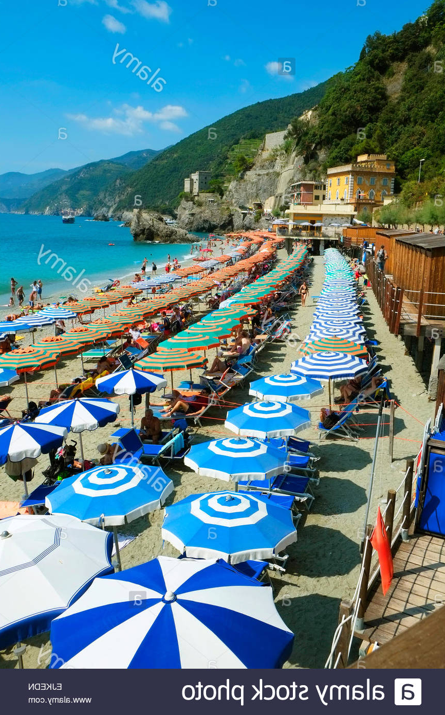 Italian Beach Umbrellas For 2020 Monterosso Beach Umbrellas Cinque Terre Italy Italian Riviera Stock (View 13 of 20)