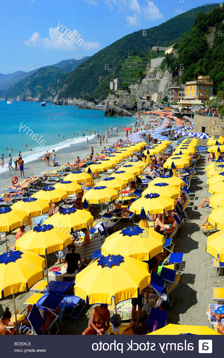 Italian Beach Umbrellas Throughout Latest Monterosso Beach Umbrellas Cinque Terre Italy Italian Riviera Stock (View 10 of 20)