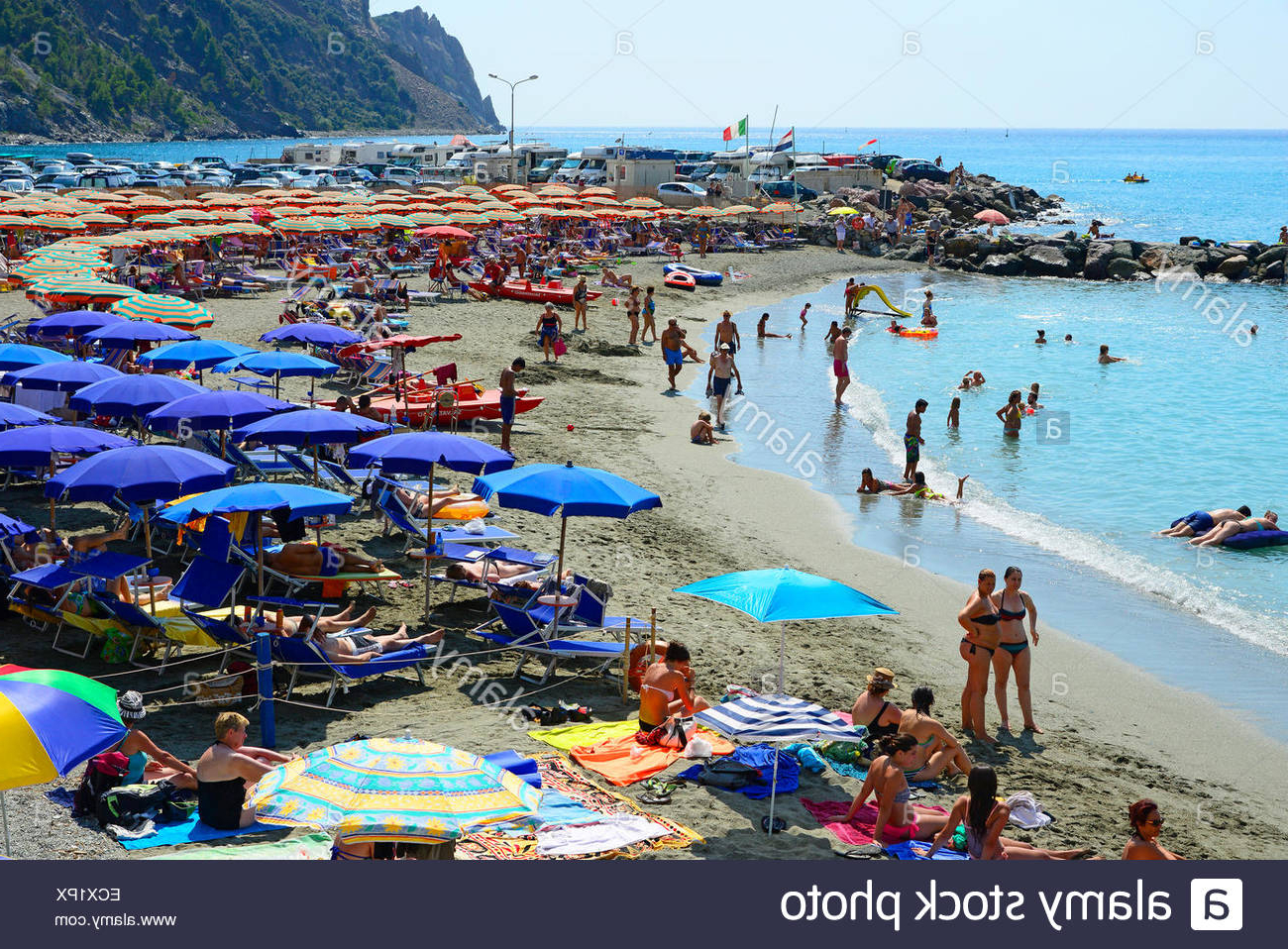 Italian Beach Umbrellas Within Widely Used Monterosso Beach Umbrellas Cinque Terre Italy Italian Riviera Stock (View 14 of 20)
