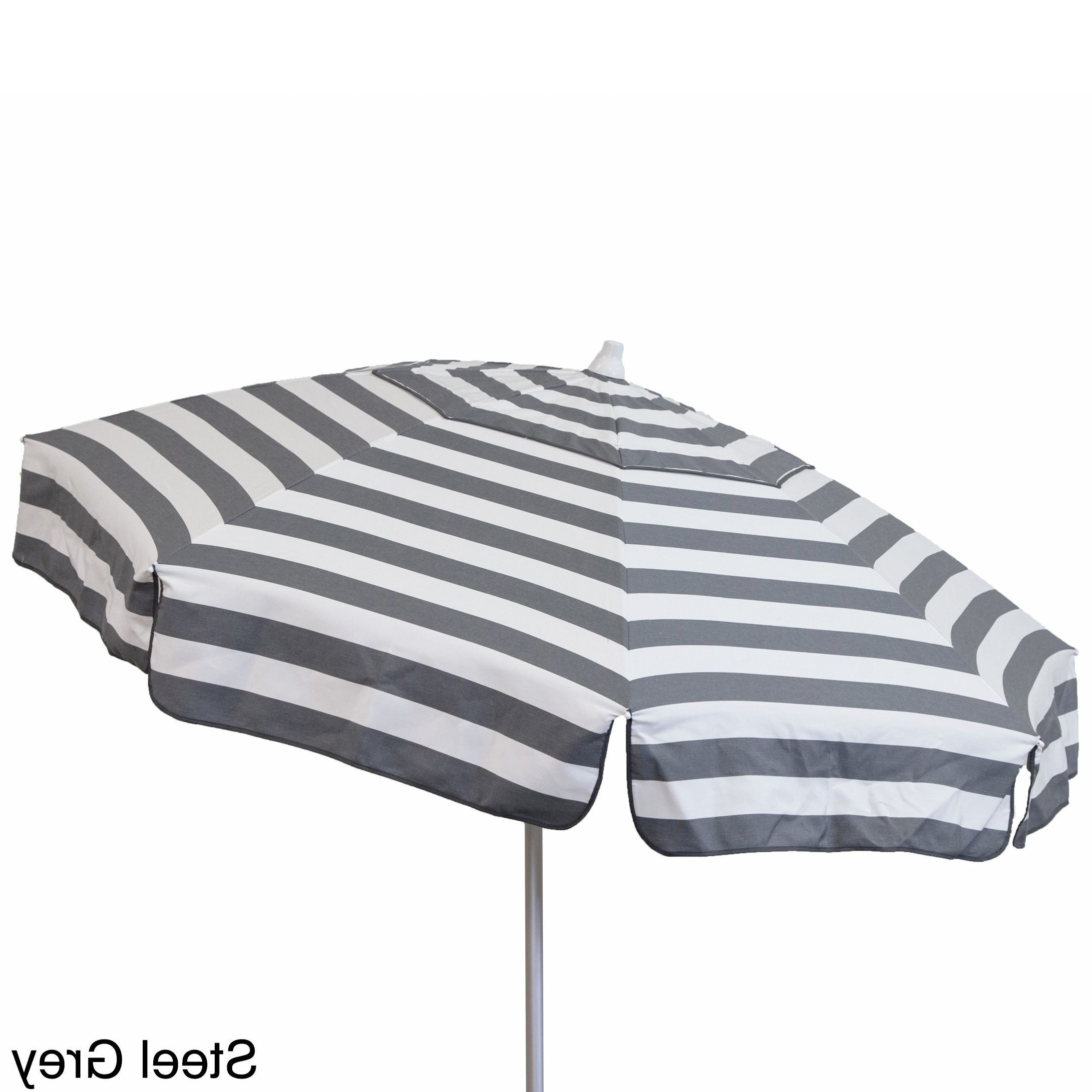 Italian Drape Umbrellas With Recent Euro 6 Foot Striped Umbrella (Steel Grey And White – Beach Pole (Gallery 19 of 20)