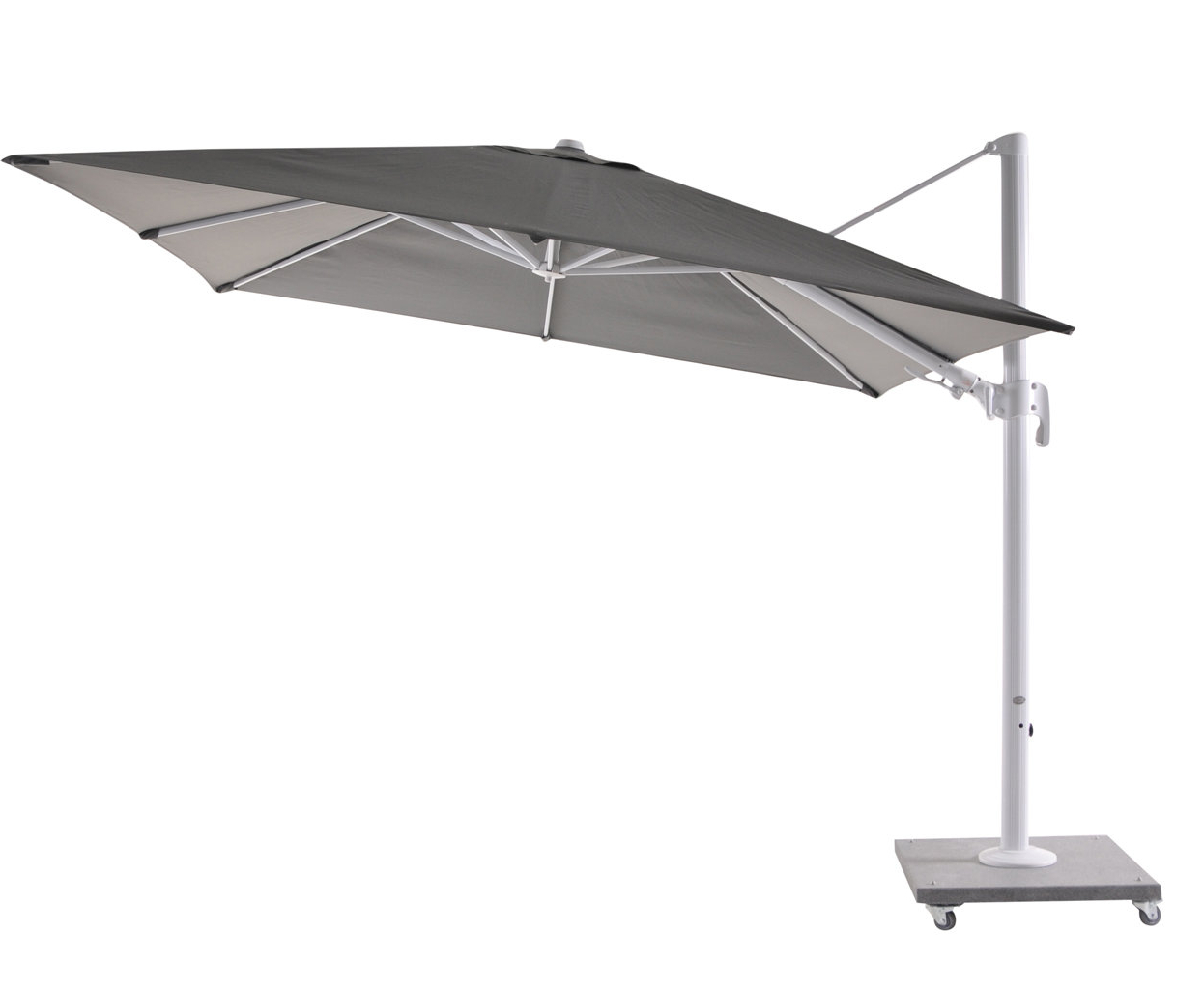 Iyanna Cantilever Umbrellas Inside Best And Newest Bozarth 10' Square Cantilever Umbrella (Gallery 17 of 20)