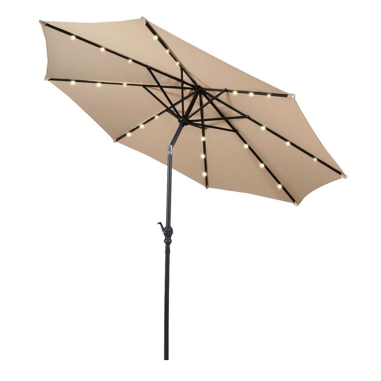 Jericho Market Umbrellas Throughout Trendy Giantex 10Ft Patio Solar Umbrella Led Patio Market Steel Tilt W (View 8 of 20)