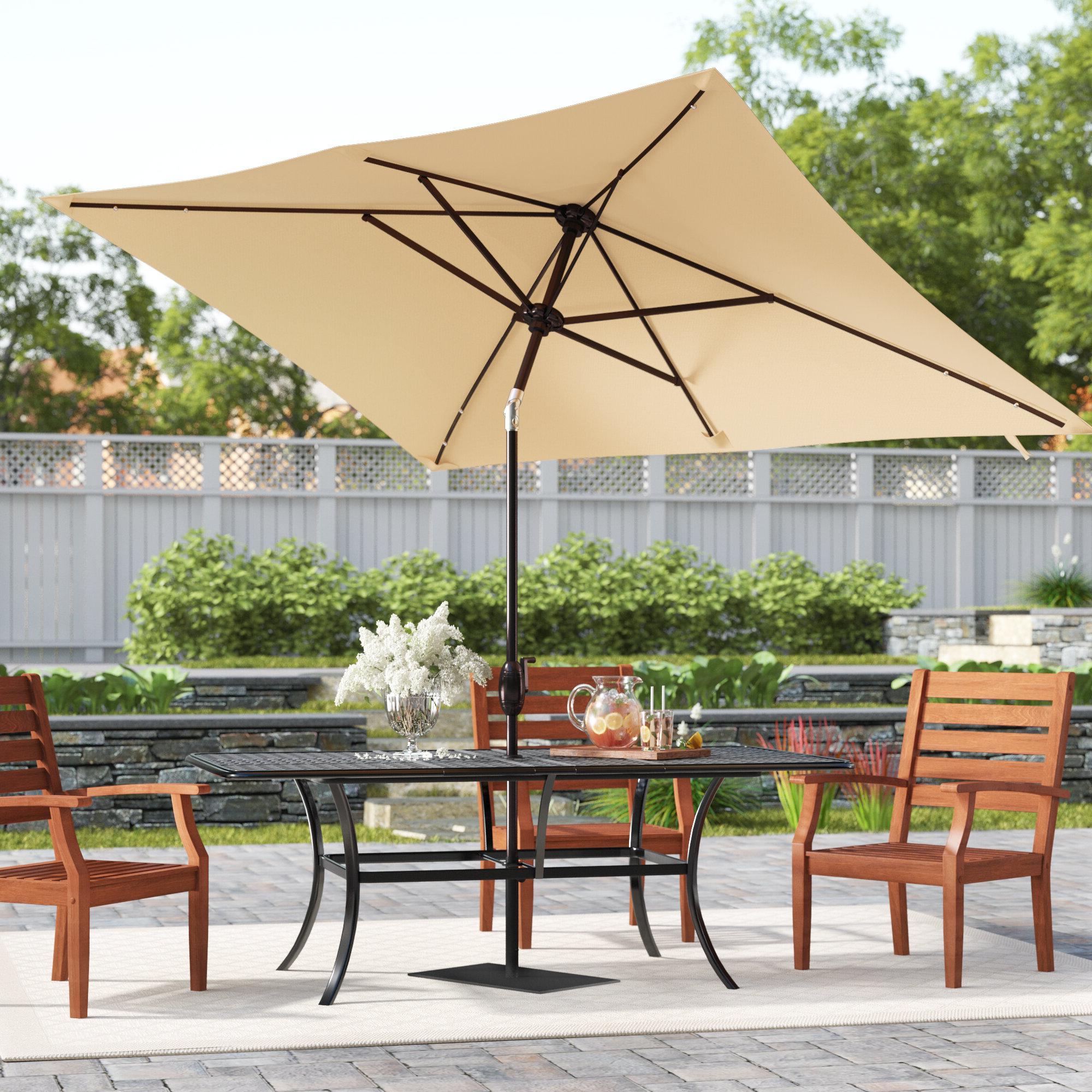 Jerrell 10' X 7' Rectangular Market Umbrella Throughout Newest Norah Rectangular Market Umbrellas (View 9 of 20)