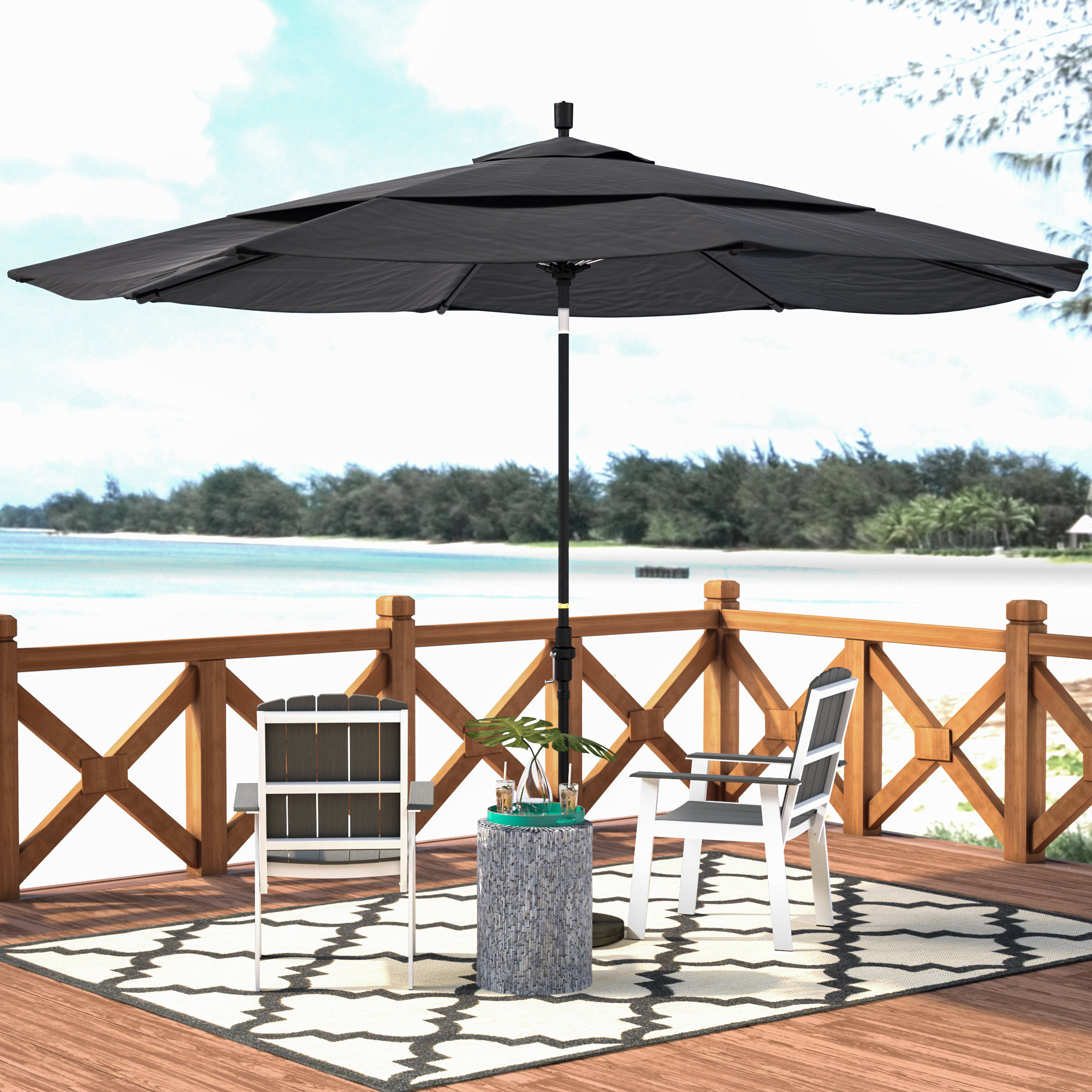 Julian Market Umbrellas Throughout Best And Newest Beachcrest Home Keegan 11' Market Umbrella & Reviews (View 9 of 20)