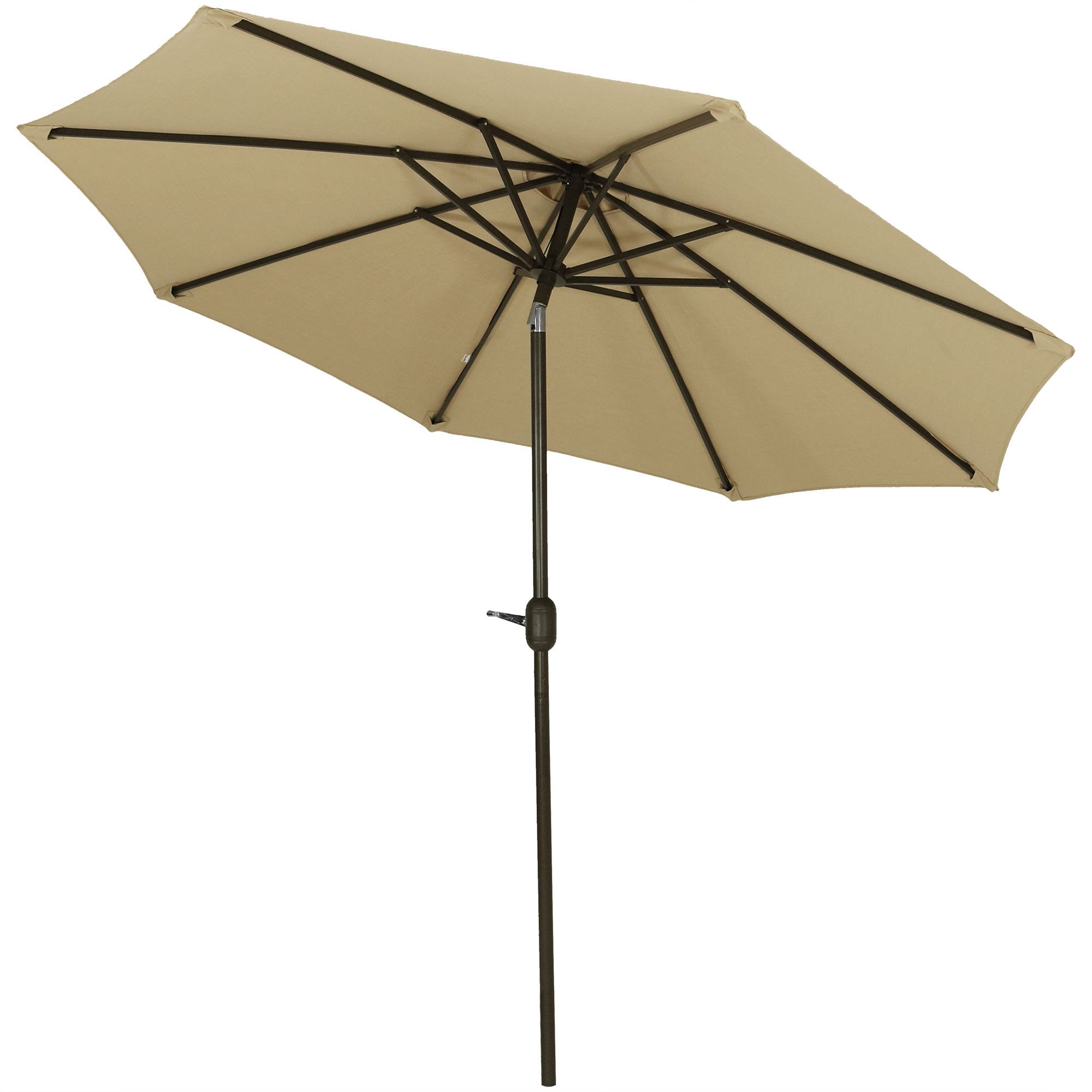 Julian Market Umbrellas Throughout Most Popular Sunnydaze Sunbrella Patio Umbrella With Auto Tilt And Crank, 9 Foot Outdoor  Market Umbrella, Rust Resistant Aluminum, Sunbrella Beige (View 10 of 20)