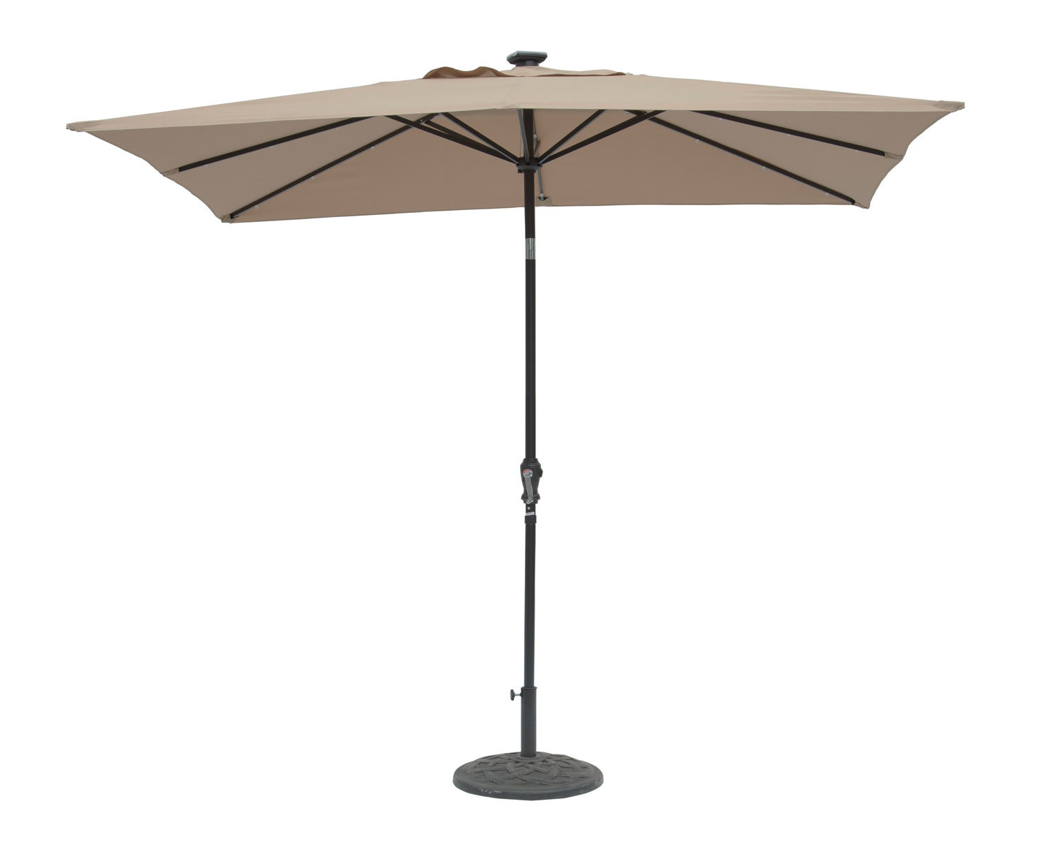 Kamila 9' X 7' Rectangular Lighted Umbrella With Most Recent Cordelia Rectangular Market Umbrellas (Gallery 9 of 20)