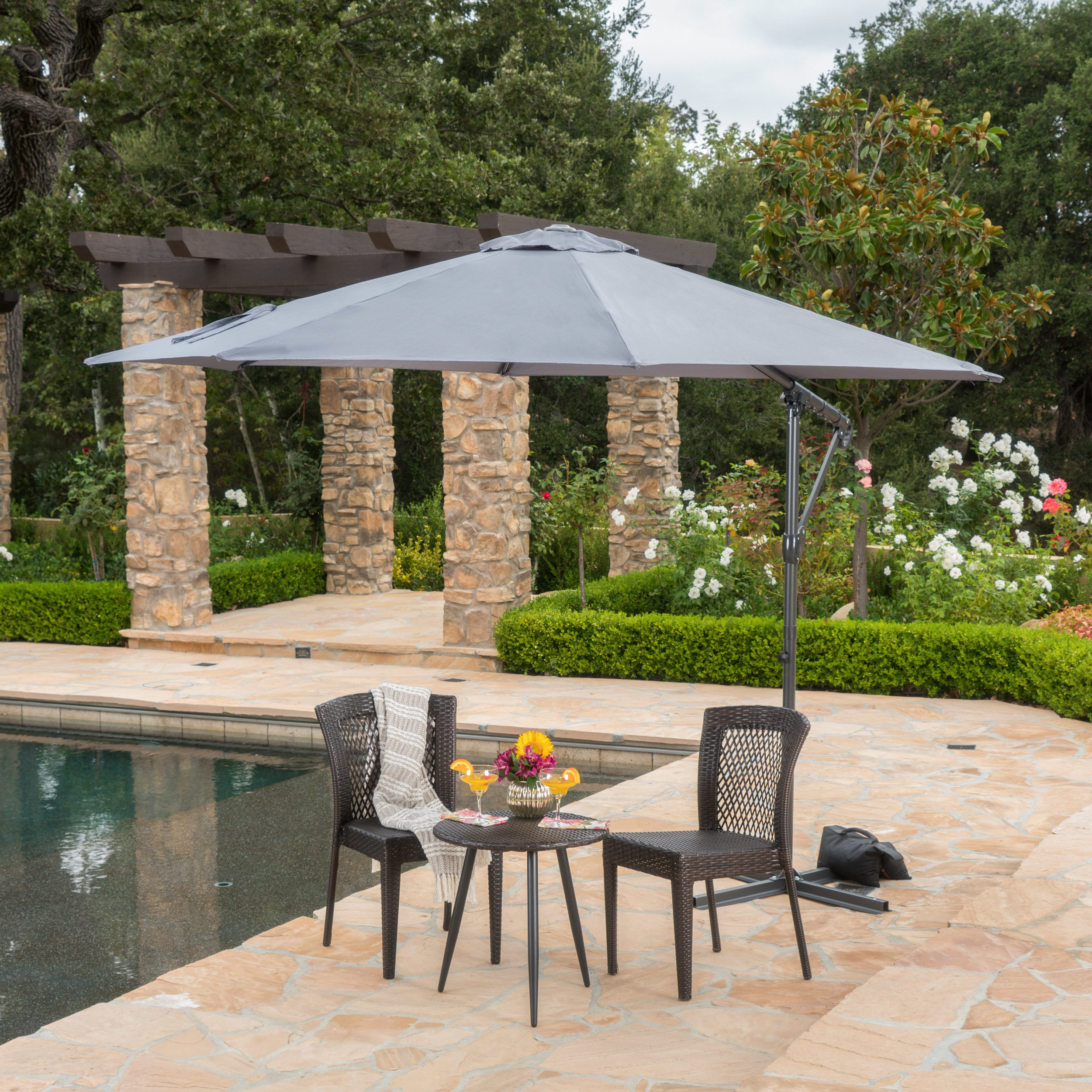 Karr Cantilever Umbrellas Within Most Popular Longshore Tides Jaelynn 9.5' Cantilever Umbrella & Reviews (Gallery 15 of 20)