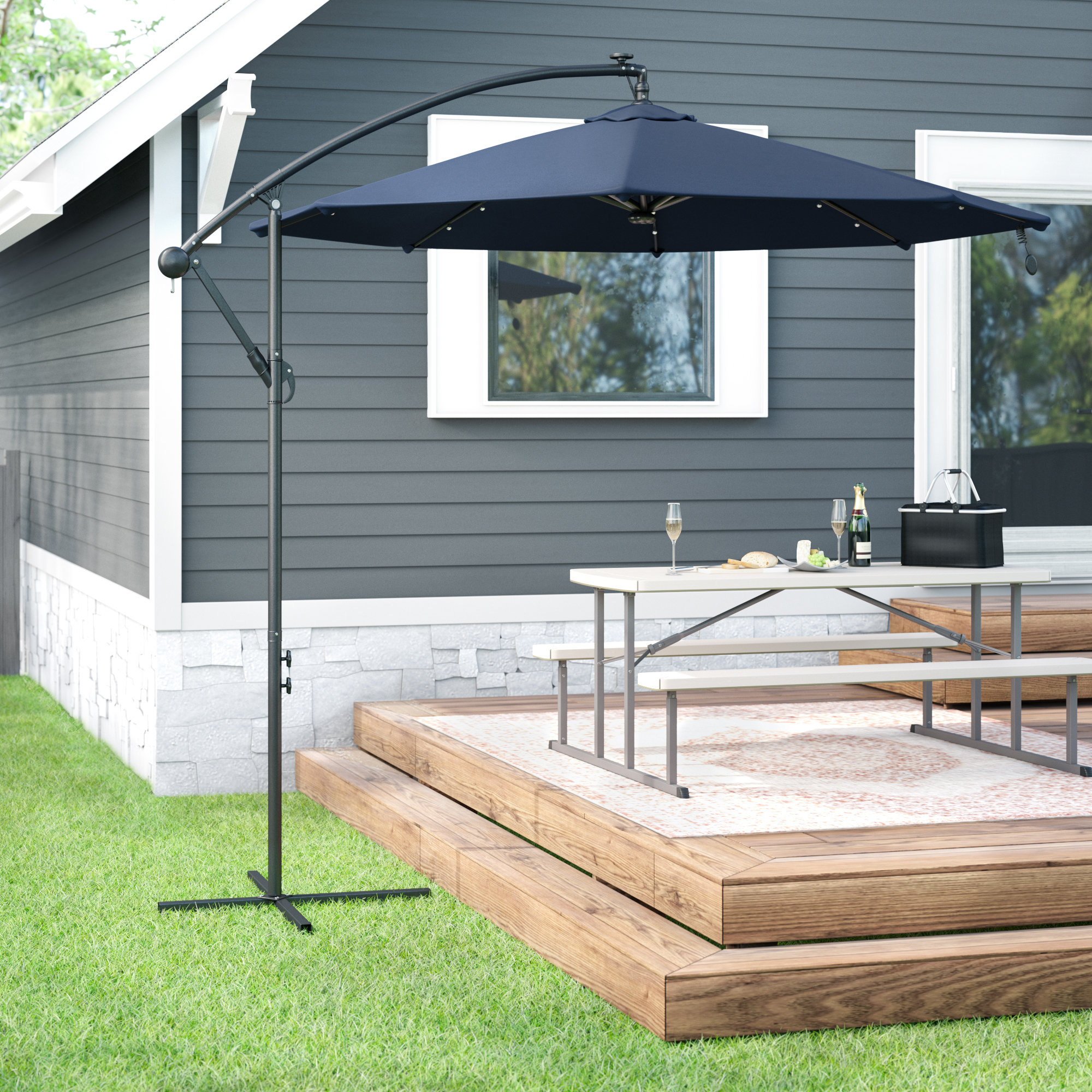 Kayleigh 10' Cantilever Umbrella Inside 2019 Dore Patio Cantilever Umbrellas (View 13 of 20)