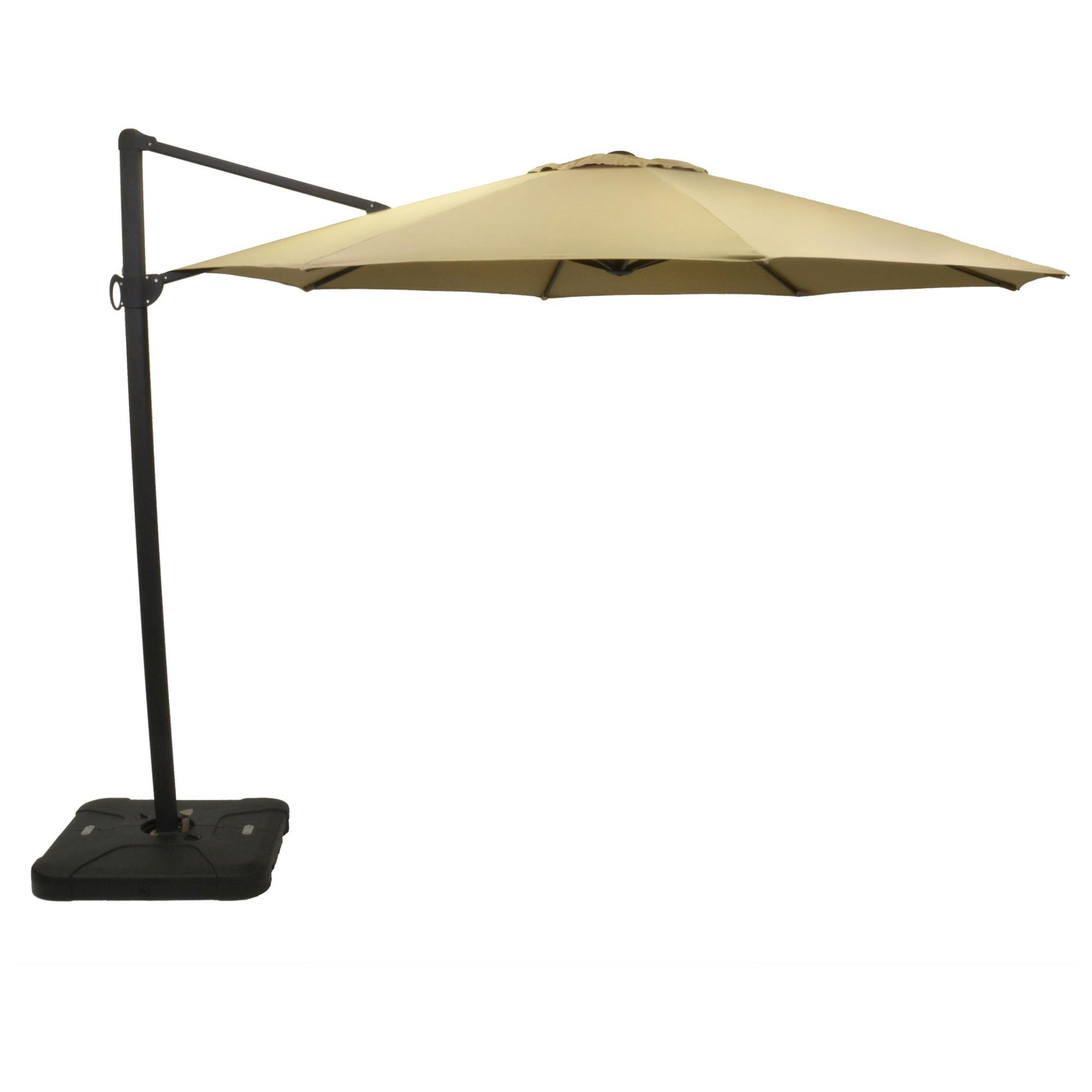 Kedzie Outdoor Cantilever Umbrellas With Best And Newest 11' Offset Sunbrella Umbrella – Canvas Heather Beige – Black Pole (View 5 of 20)