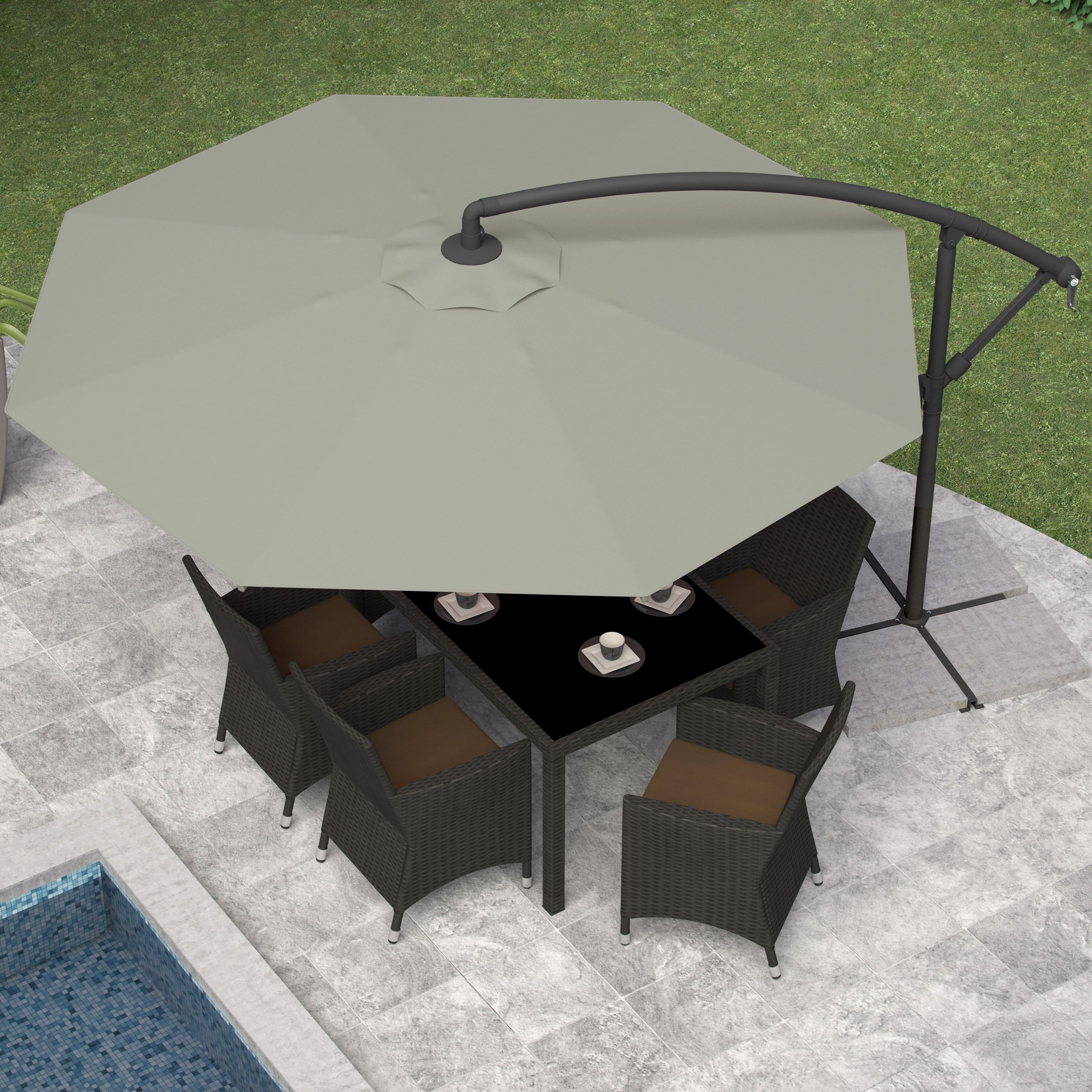 Kedzie Outdoor Cantilever Umbrellas With Most Current 11' Offset Patio Umbrella Aqua – Light Wood Pole – Threshold (View 8 of 20)