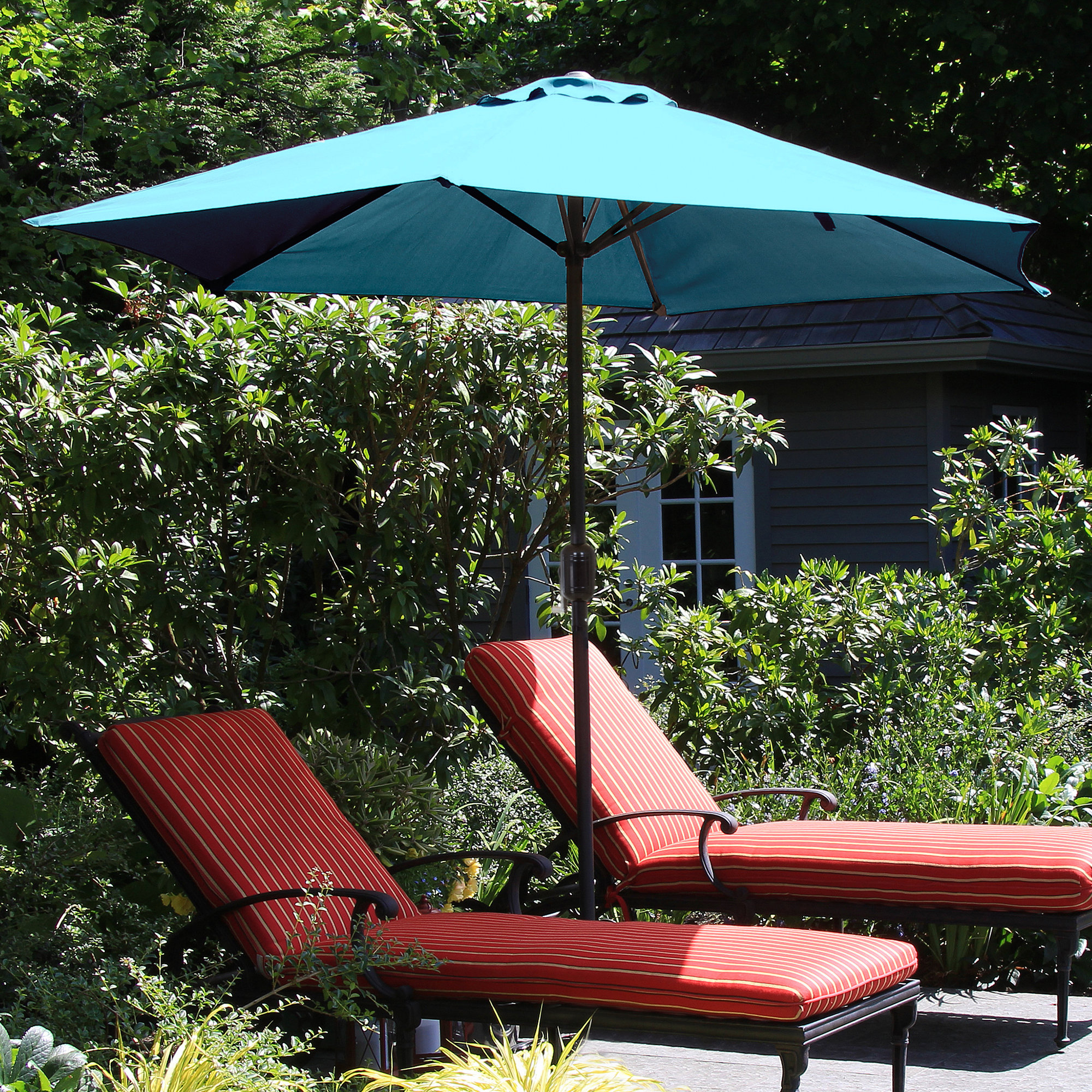 Kelton 9' Market Umbrella Throughout Most Current Kelton Market Umbrellas (Gallery 7 of 20)