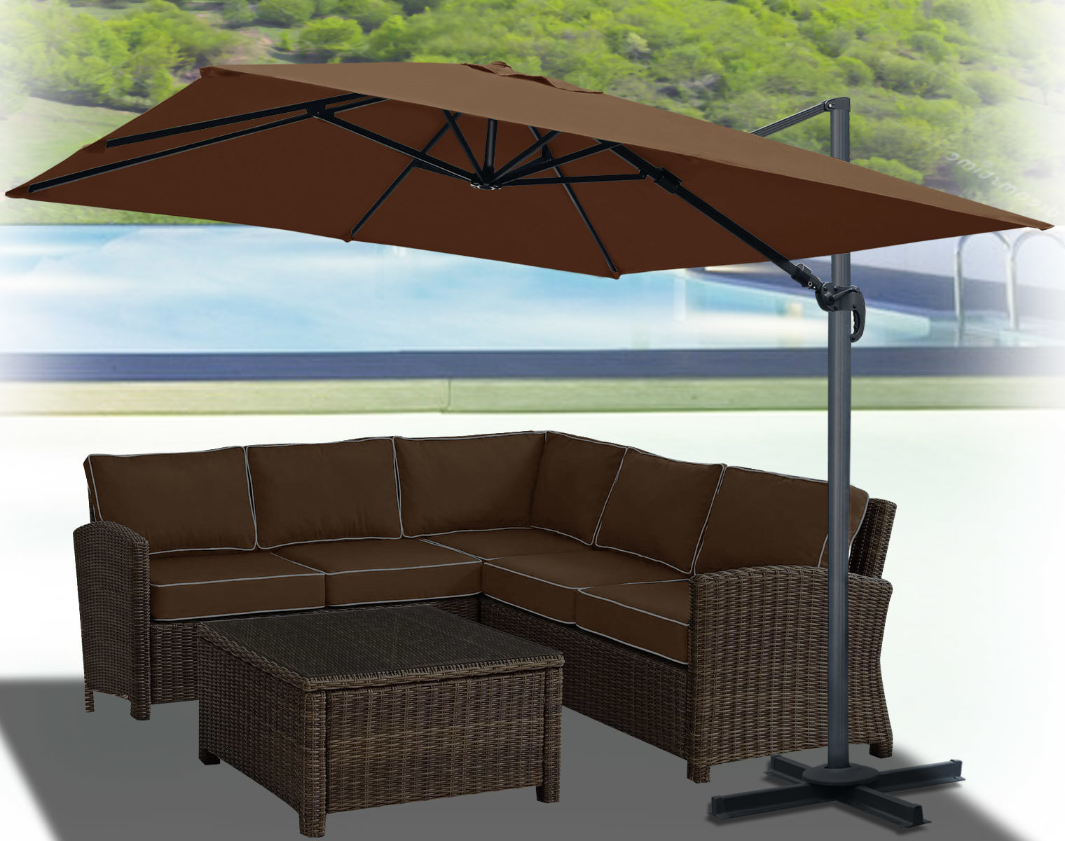 Klass Hanging Patio 10' Square Cantilever Umbrella Regarding Fashionable Spitler Square Cantilever Umbrellas (Gallery 4 of 20)