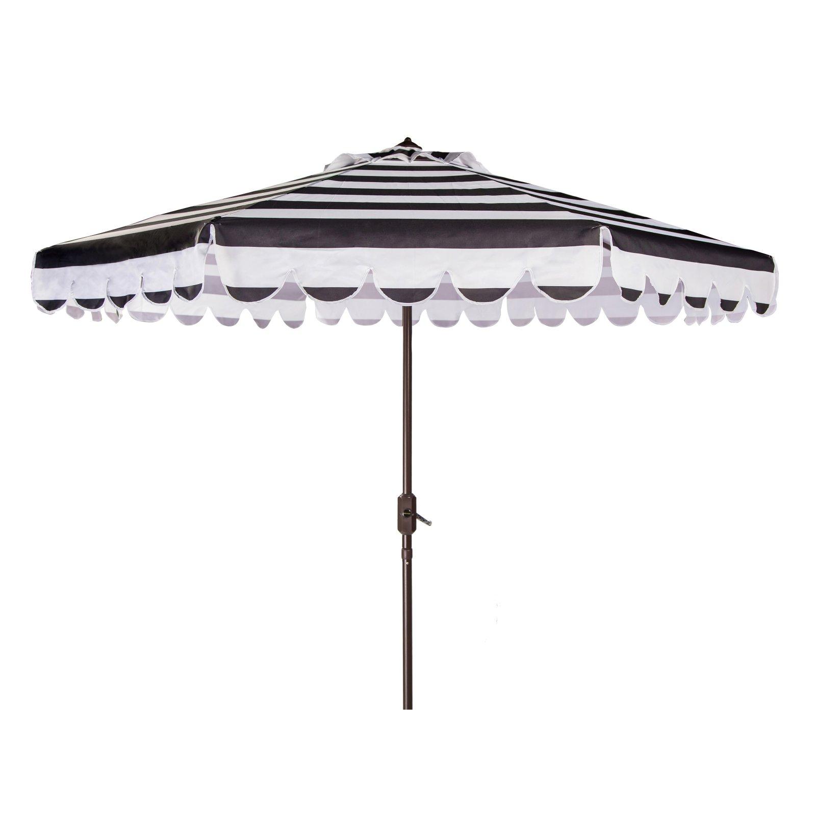 Lambeth Market Umbrellas Inside Newest Safavieh Maui Single Scallop Striped 9 Ft. Aluminum Auto Tilt Crank (Gallery 19 of 20)