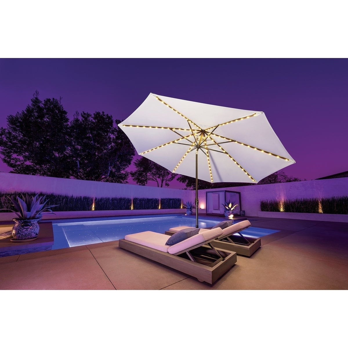Lanai Market Umbrellas In Popular Simplyshade Lanai Pro 9' Octagon Auto Tilt Umbrella With Starlights (View 19 of 20)