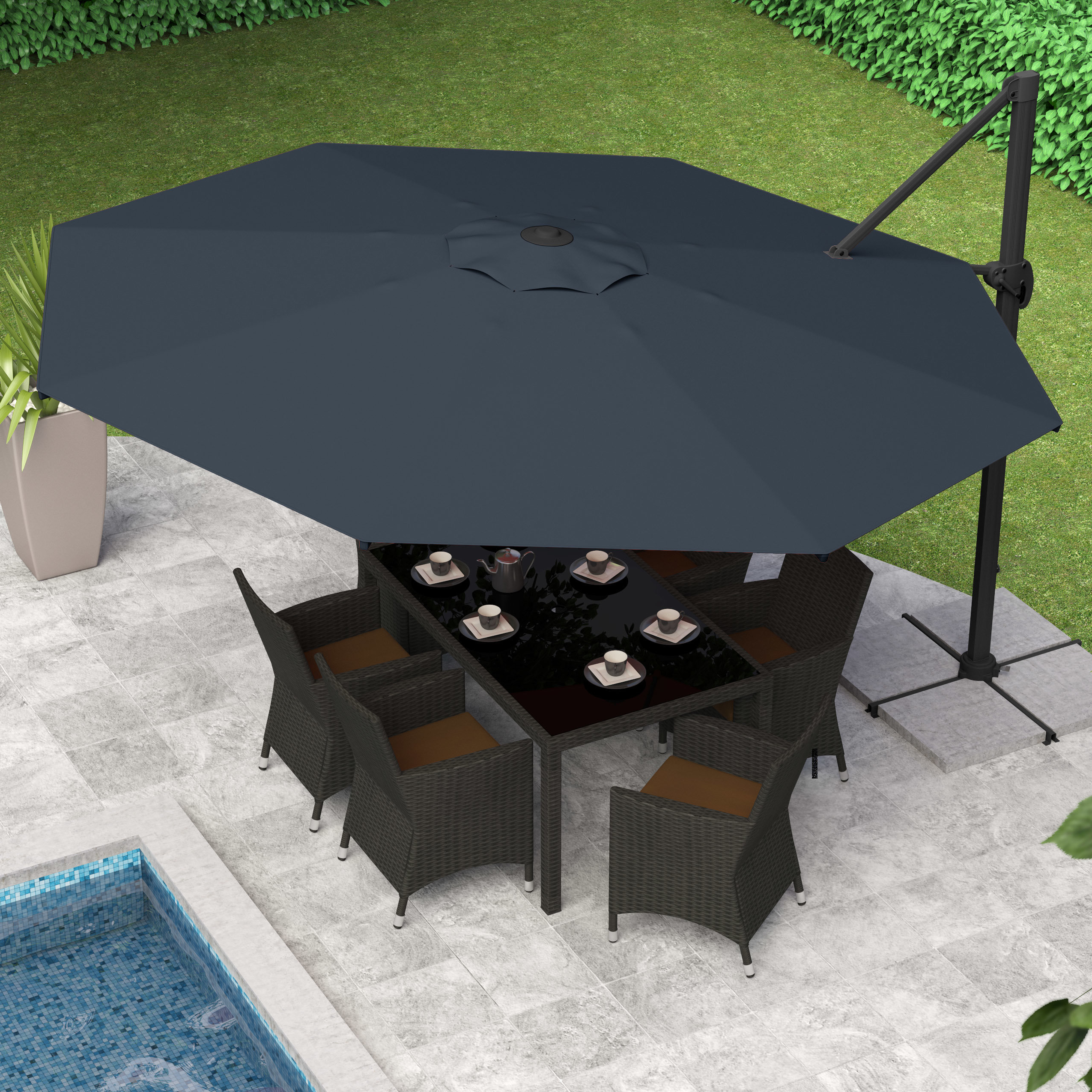 Latest Carlisle Cantilever Sunbrella Umbrellas Throughout Gribble  (View 15 of 20)