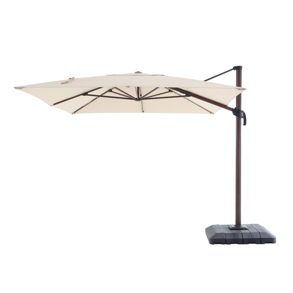 Latest Hampton Bay 10 Ft. X 12 Ft. Aluminum Rectangle Offset Cantilever Patio Umbrella In Cafe Intended For Fazeley Rectangular Cantilever Umbrellas (Gallery 3 of 20)