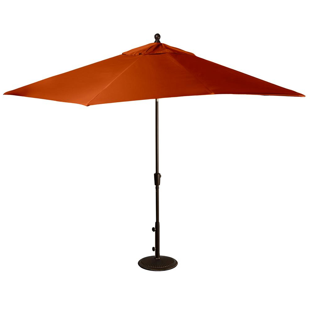 Latest Solid Rectangular Market Umbrellas Within Island Umbrella Caspian 8 Ft. X 10 Ft. Rectangular Market Push Button Tilt Patio Umbrella In Terra Cotta Sunbrella Acrylic (Gallery 8 of 20)