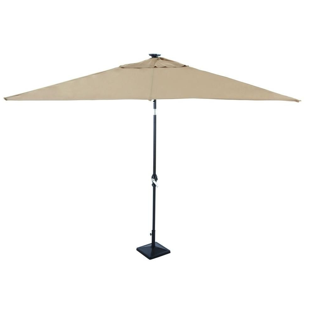 Latest Sun Ray Solar Cantilever Umbrellas With Regard To Hampton Bay 9 Ft. Rectangular Solar Powered Patio Umbrella In Taupe (Gallery 14 of 20)