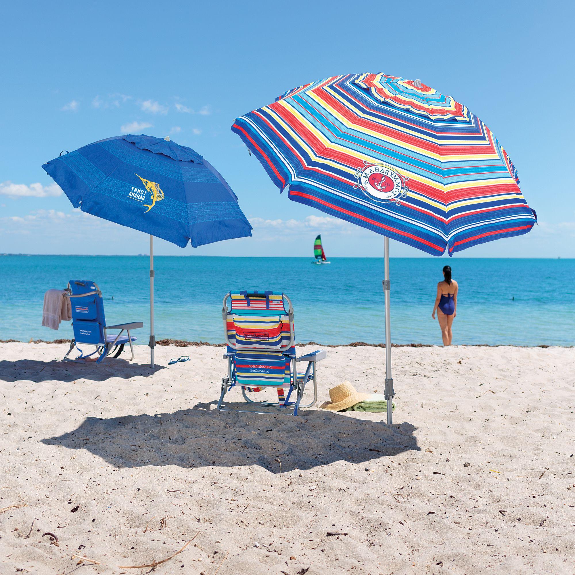 Latest Tommy Bahama Beach Umbrella Intended For Leasure Fiberglass Portable Beach Umbrellas (Gallery 9 of 20)
