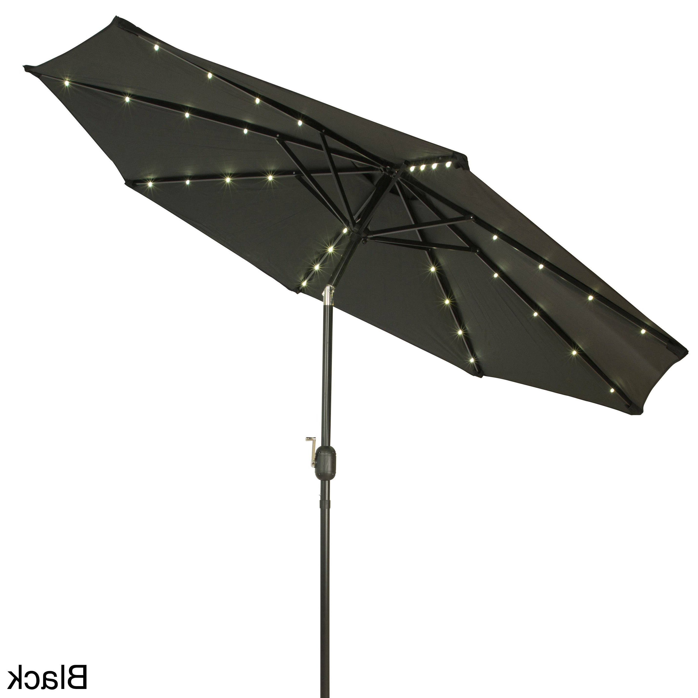 Latest Trademark Innovations Deluxe 9 Foot Solar Powered Led Lighted Patio With Wacker Market Umbrellas (View 9 of 20)