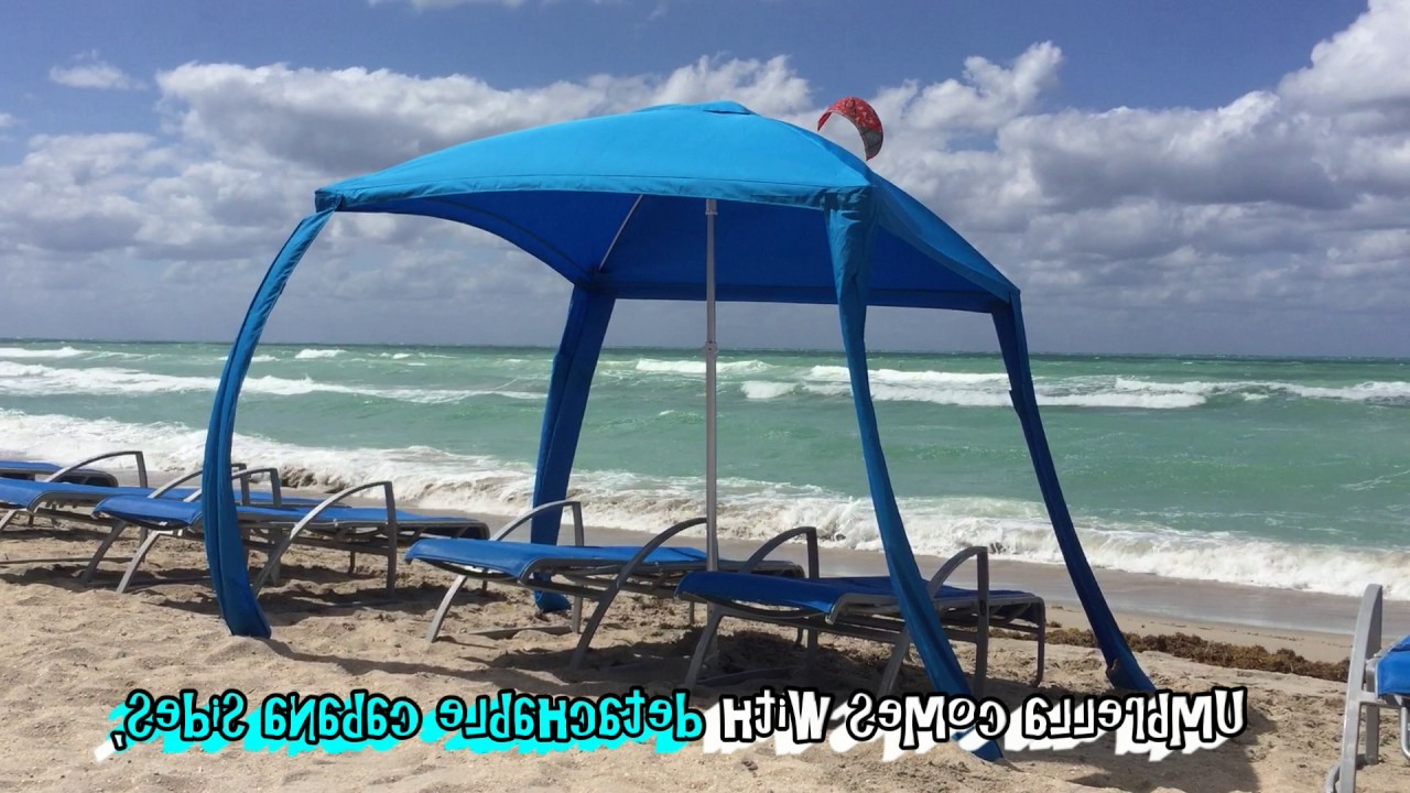 Leasure Fiberglass Portable Beach Umbrellas Regarding Famous Testing New Beach Umbrella On A Windy Day (View 16 of 20)