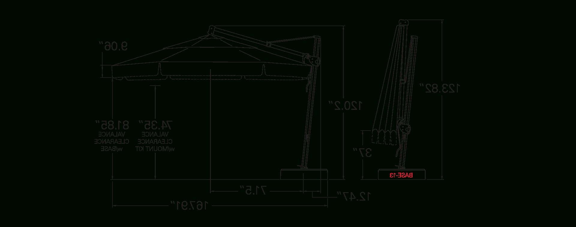 Lennie Cantilever Sunbrella Umbrellas Throughout Popular Akz13 Cantilever (View 10 of 20)