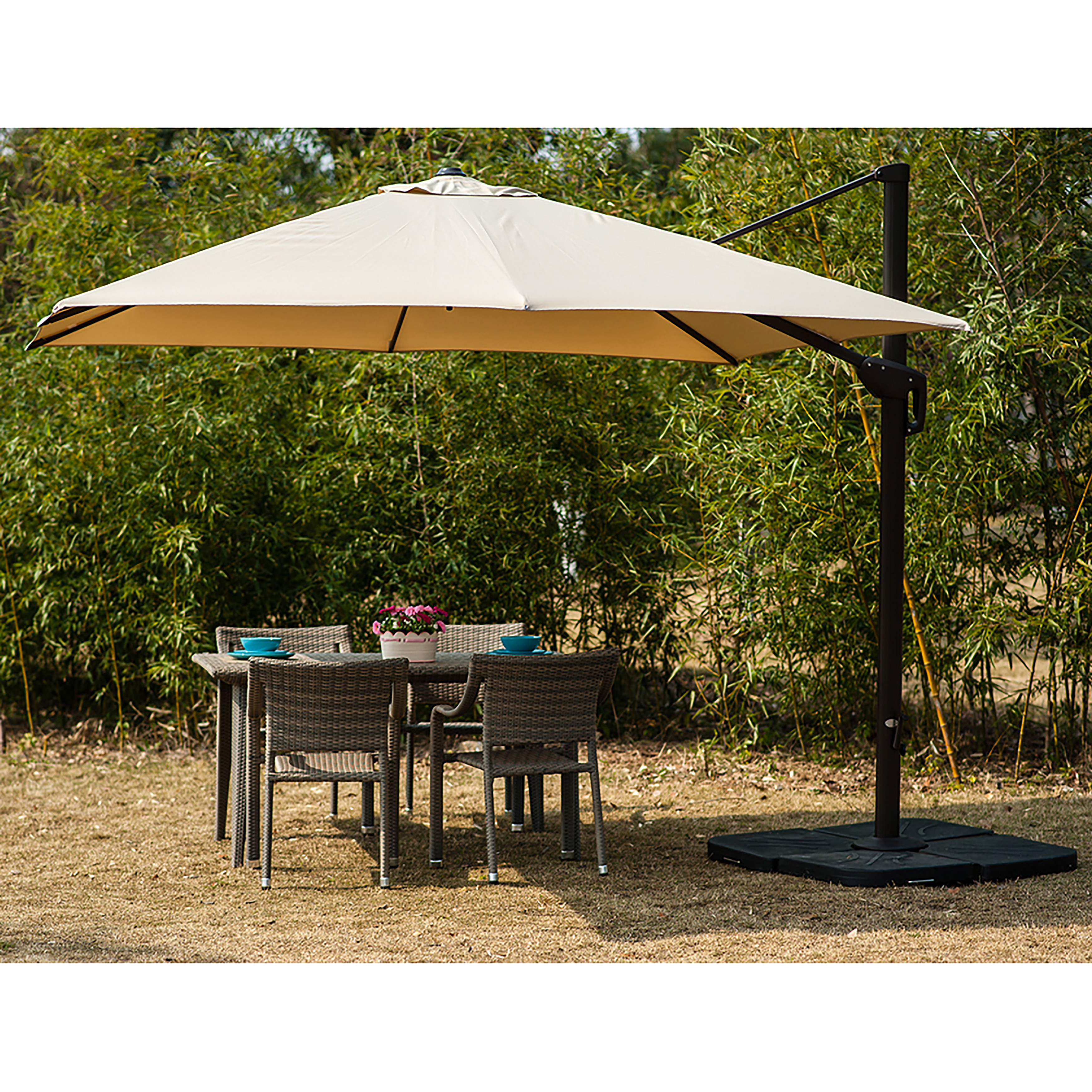Lia 10' Cantilever Umbrella Within Well Known Imogen Hanging Offset Cantilever Umbrellas (View 7 of 20)