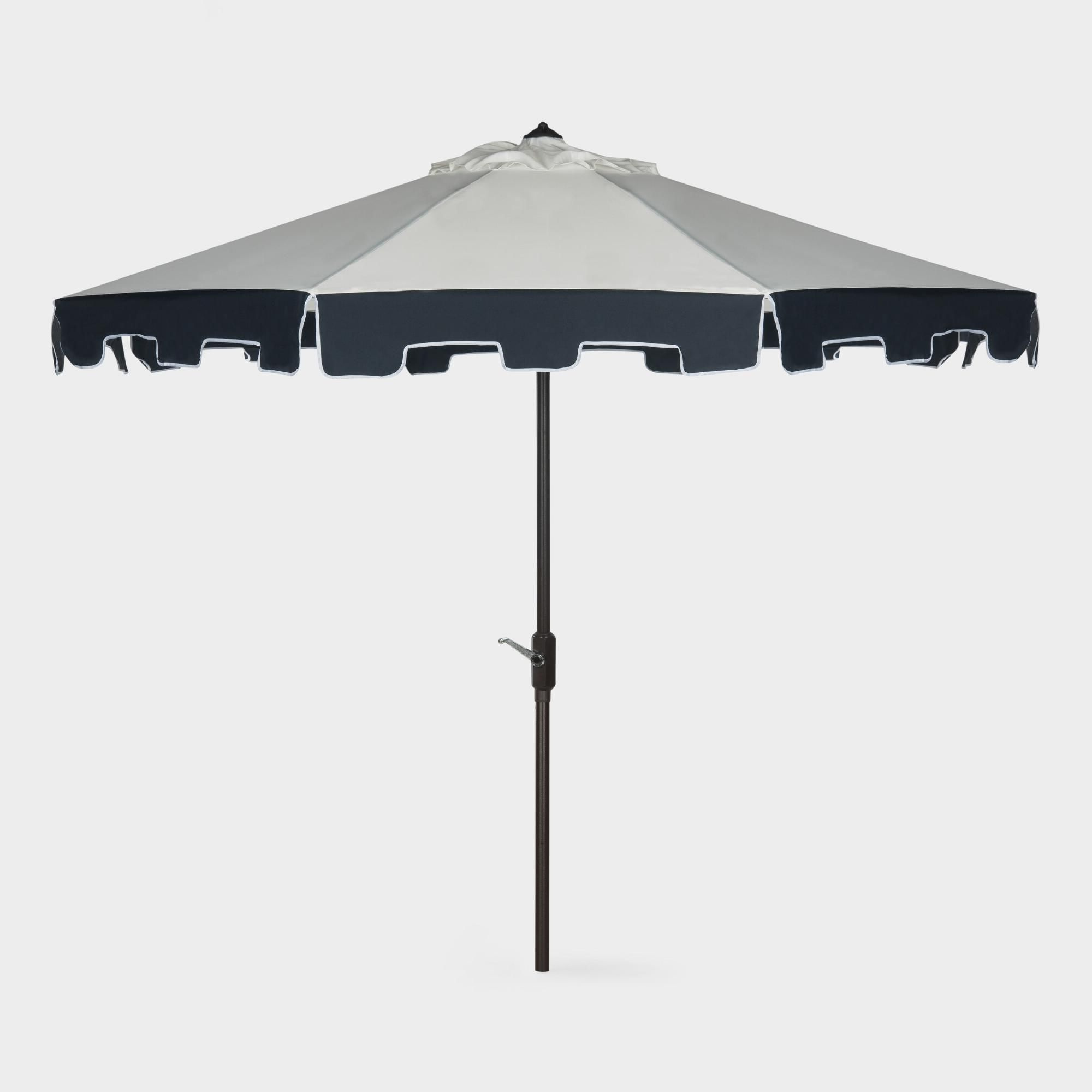 Lizarraga Market Umbrellas Inside Trendy Natural And Navy Scalloped 9 Ft Tilting Umbrella: Blue – Fabric (View 12 of 20)