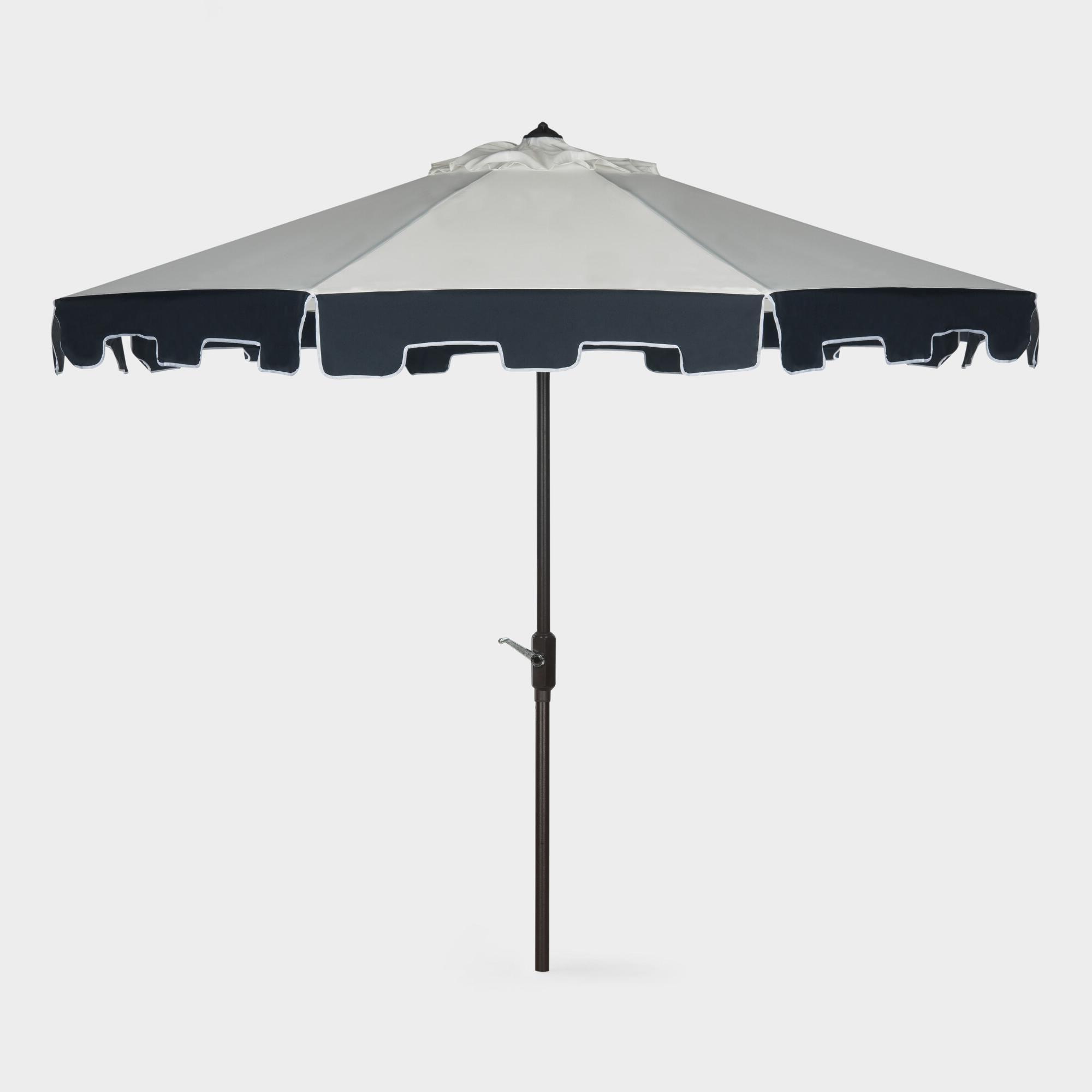 Lizarraga Market Umbrellas Inside Trendy Natural And Navy Scalloped 9 Ft Tilting Umbrella: Blue – Fabric (View 5 of 20)