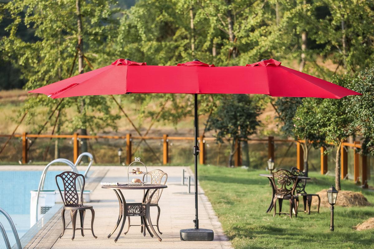 Lonoke Patio Rectangular Market Umbrellas Pertaining To Most Current Zadie Twin 15' X 9' Rectangular Market Umbrella (View 5 of 20)