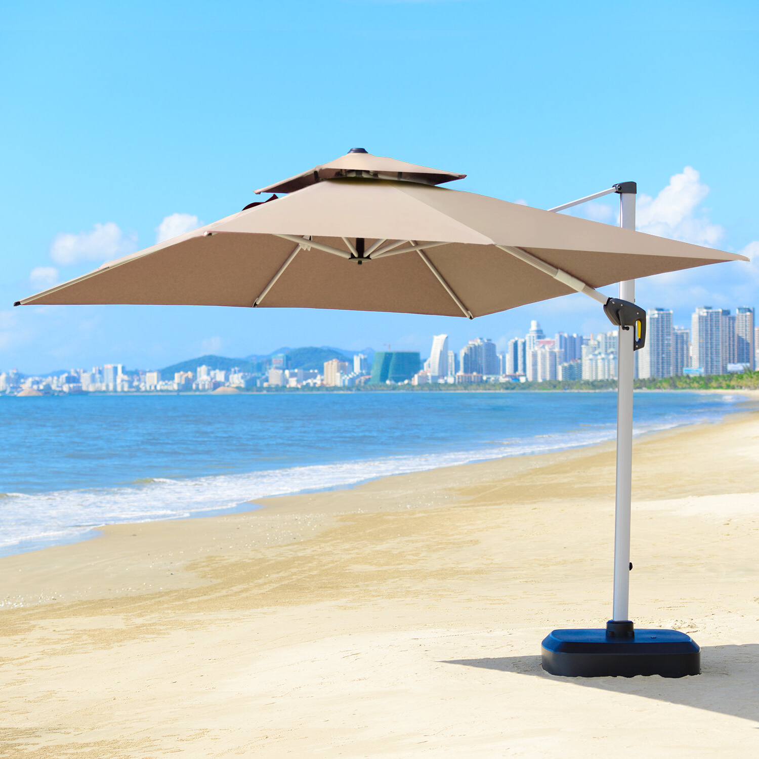 Macclesfield 10' Square Cantilever Umbrella Inside Best And Newest Maidste Square Cantilever Umbrellas (View 7 of 20)