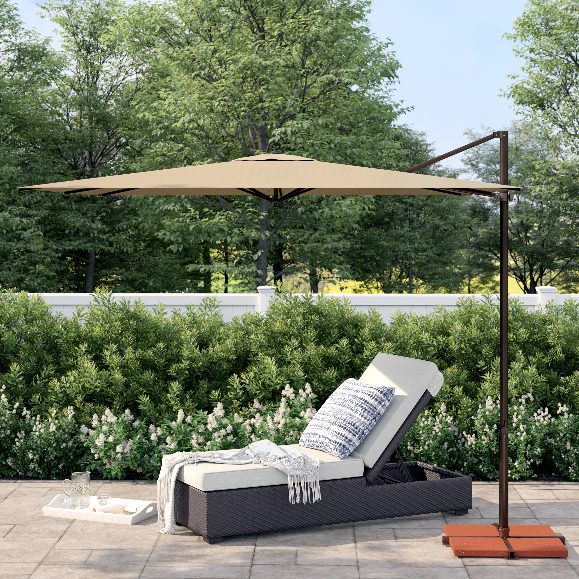 Macclesfield Square Cantilever Umbrellas Throughout Most Popular Cora 8.6' Square Cantilever Umbrella (Gallery 11 of 20)