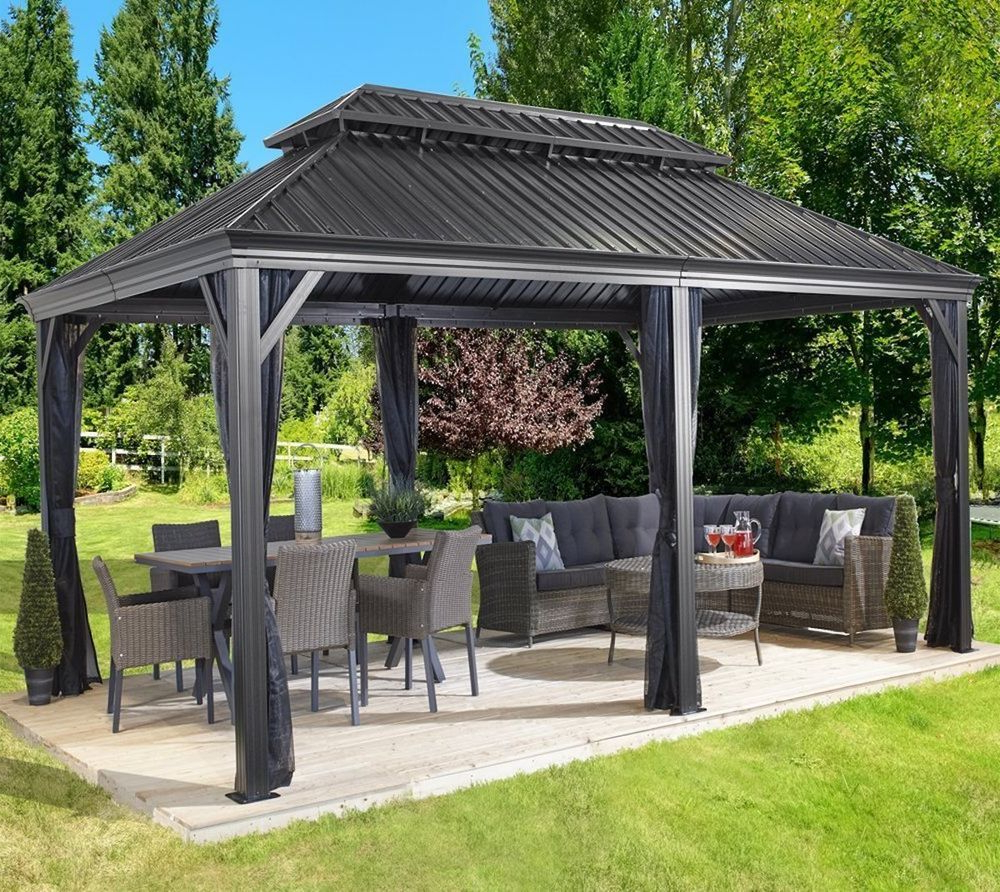 Madalyn Rectangular Market Sunbrella Umbrellas Intended For Current Patio Sun Shelter Pool Furniture Gazebo 12 X 20 Ft Hardtop Steel (View 14 of 20)