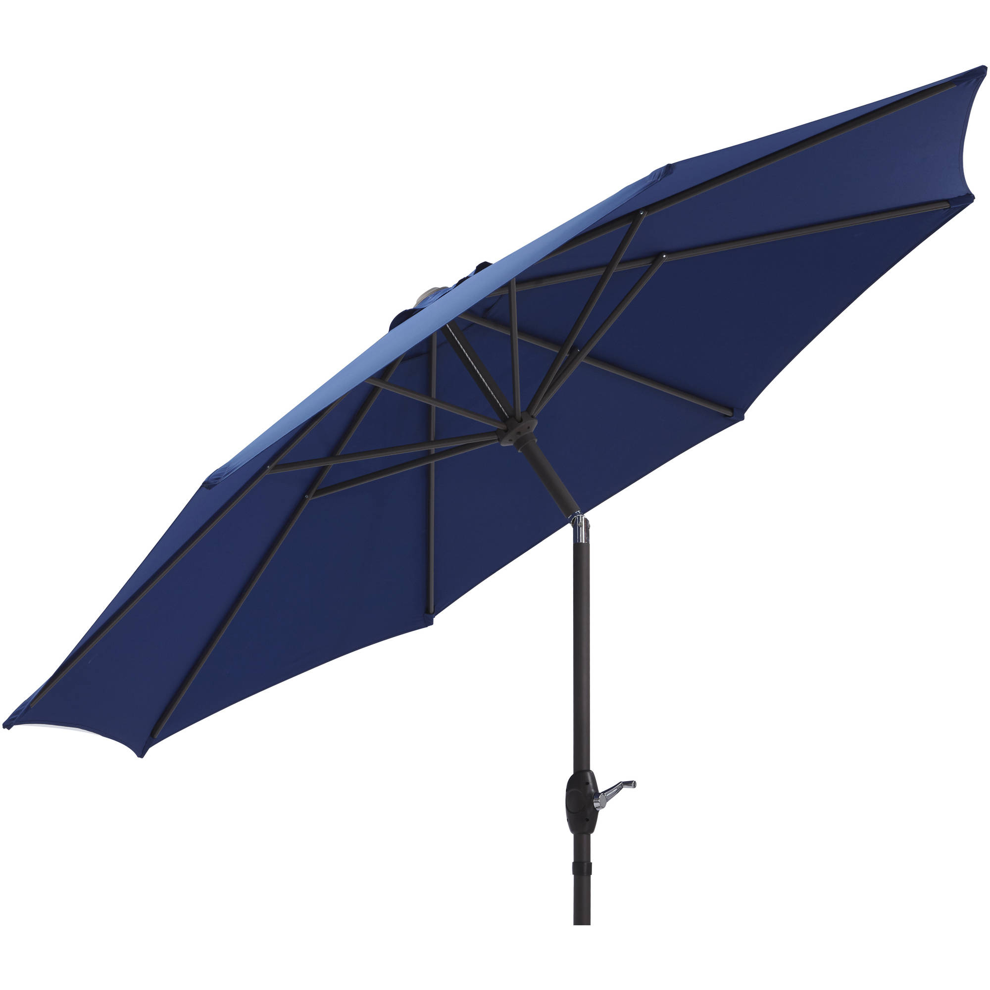 Mainstays 9' Market Umbrella, Navy Blue With Brown Frame For Best And Newest New Haven Market Umbrellas (Gallery 15 of 20)