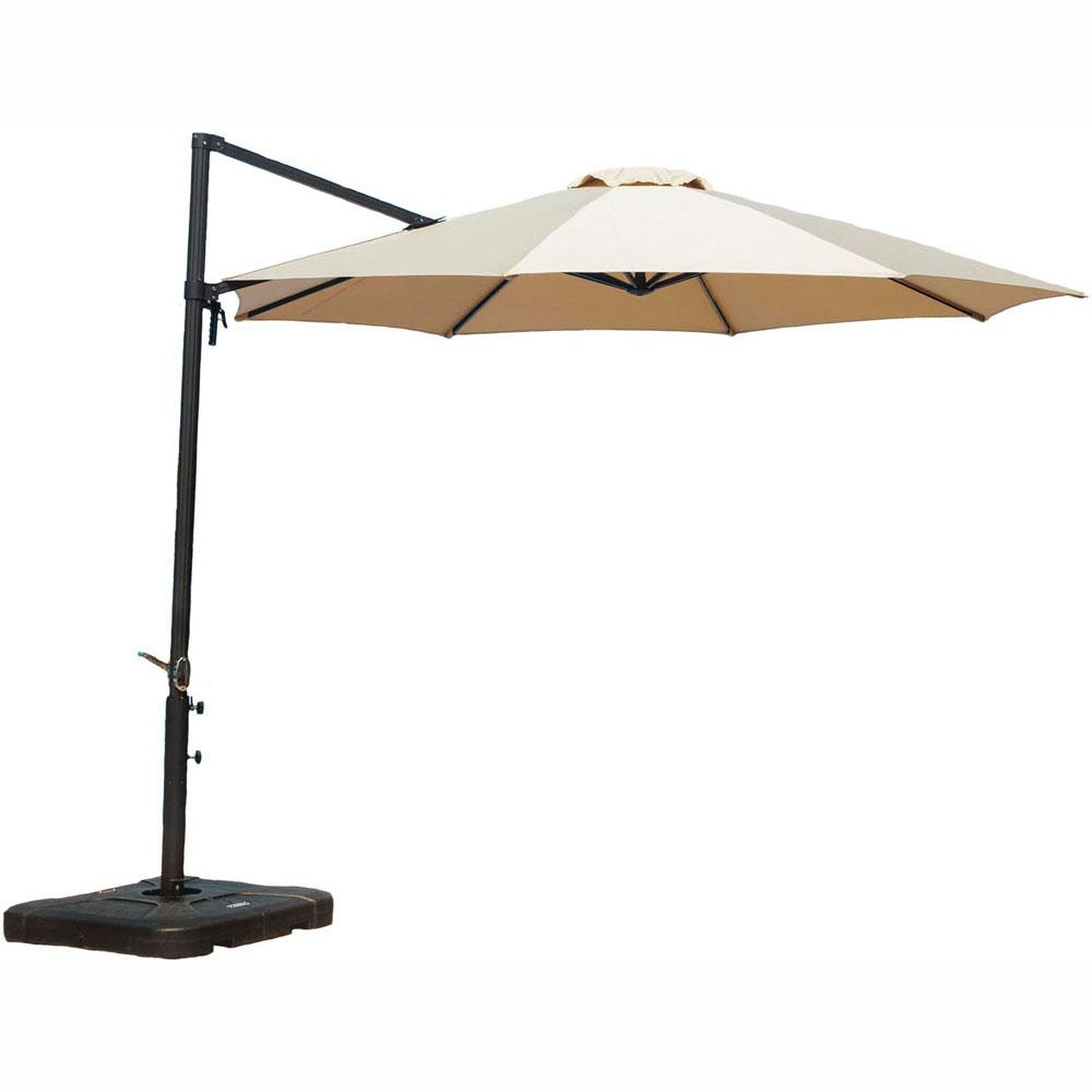 Mald Square Cantilever Umbrellas Intended For Well Known Cambridge Cantilever 11 Ft. Patio Umbrella In Tan (Gallery 3 of 20)