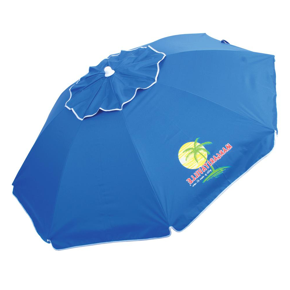 Margaritaville 6.5 Ft. Steel Pole Market Tilt Beach And Patio Umbrella In  Blue Throughout Well Known Margaritaville Green And Blue Striped Beach With Built In Sand Anchor Umbrellas (Gallery 4 of 20)